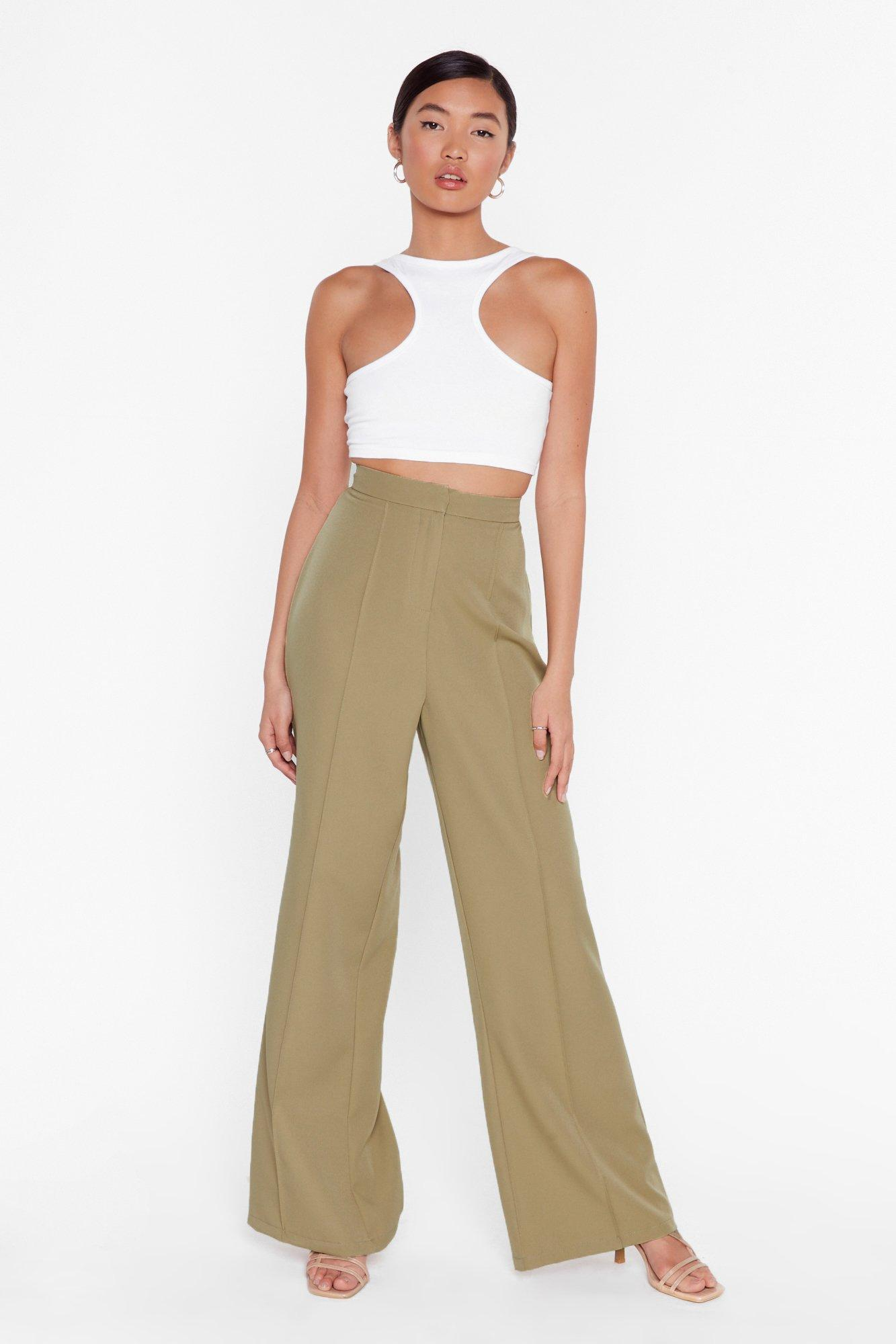 Image of I'll Be All Wide-Leg High-Waisted Pants