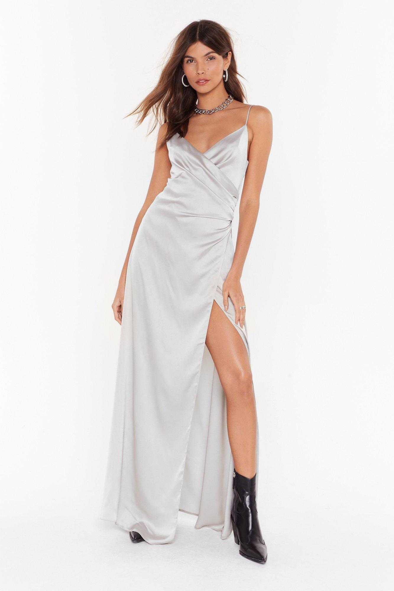 Image of When the Moon's Out Satin Maxi Dress