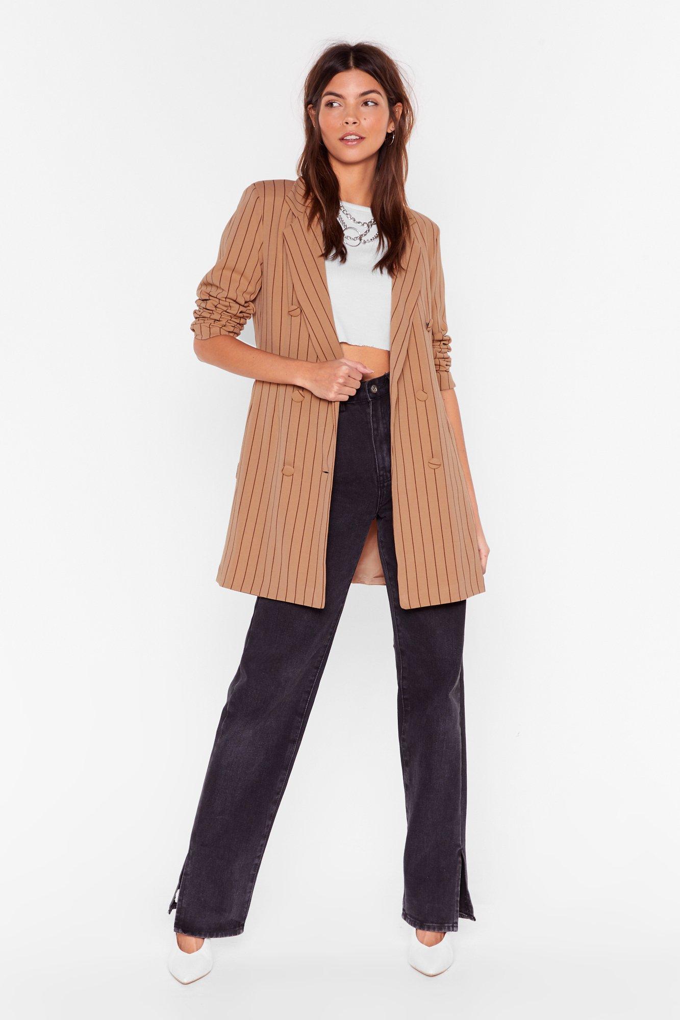 Image of Just in Line Pinstripe Belted Blazer