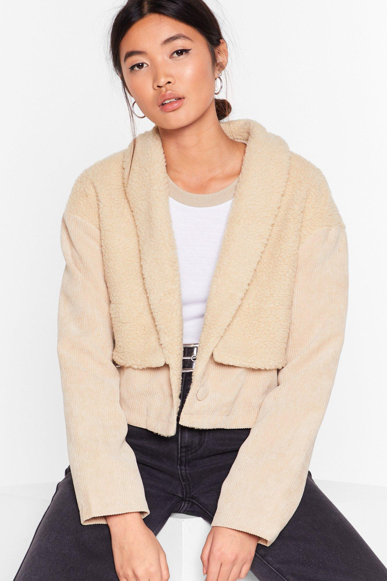 Image of Struck a Cord-uroy Faux Shearling Jacket