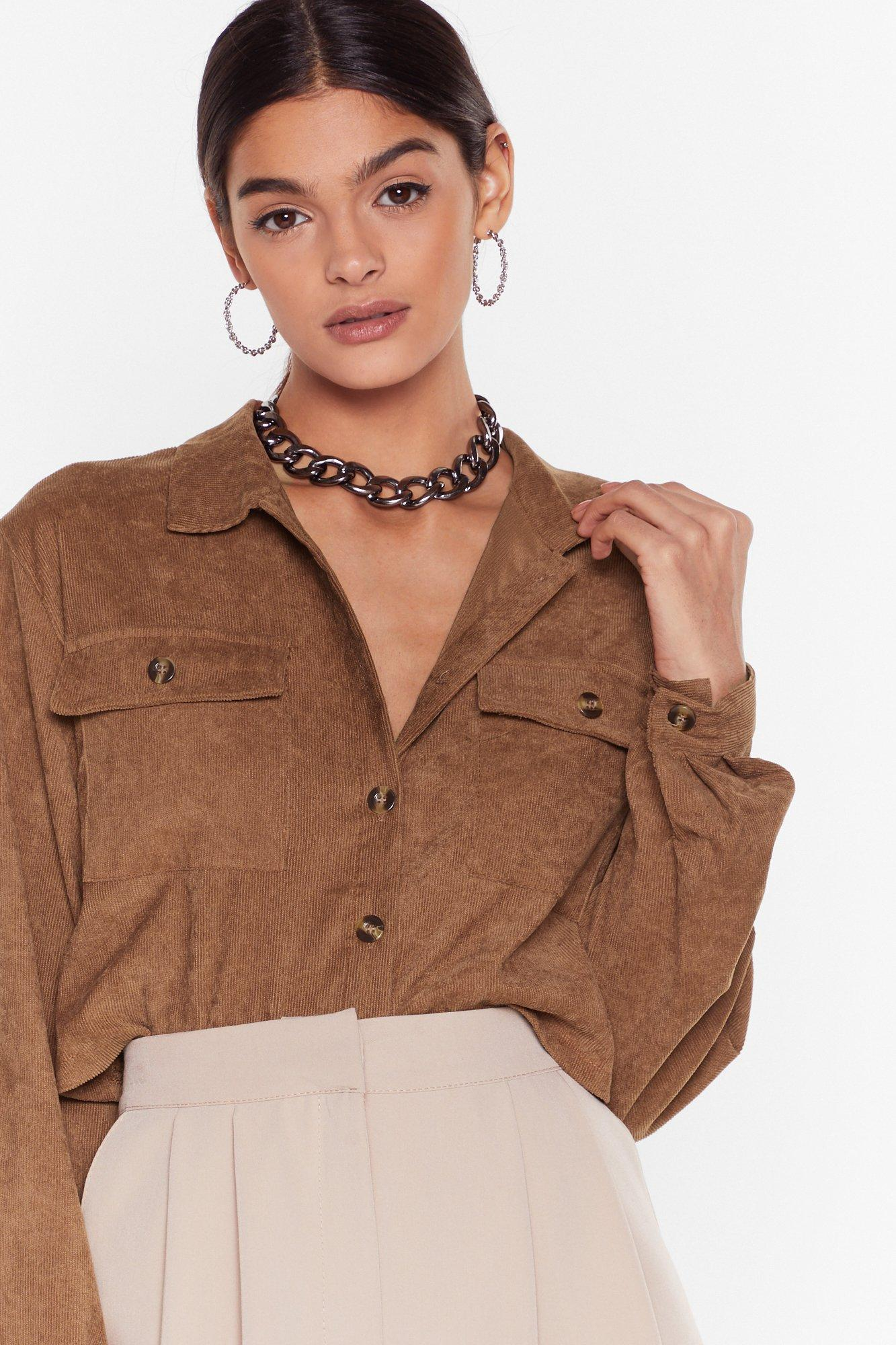 Image of Record-uroy Label Button-Down Cropped Shirt