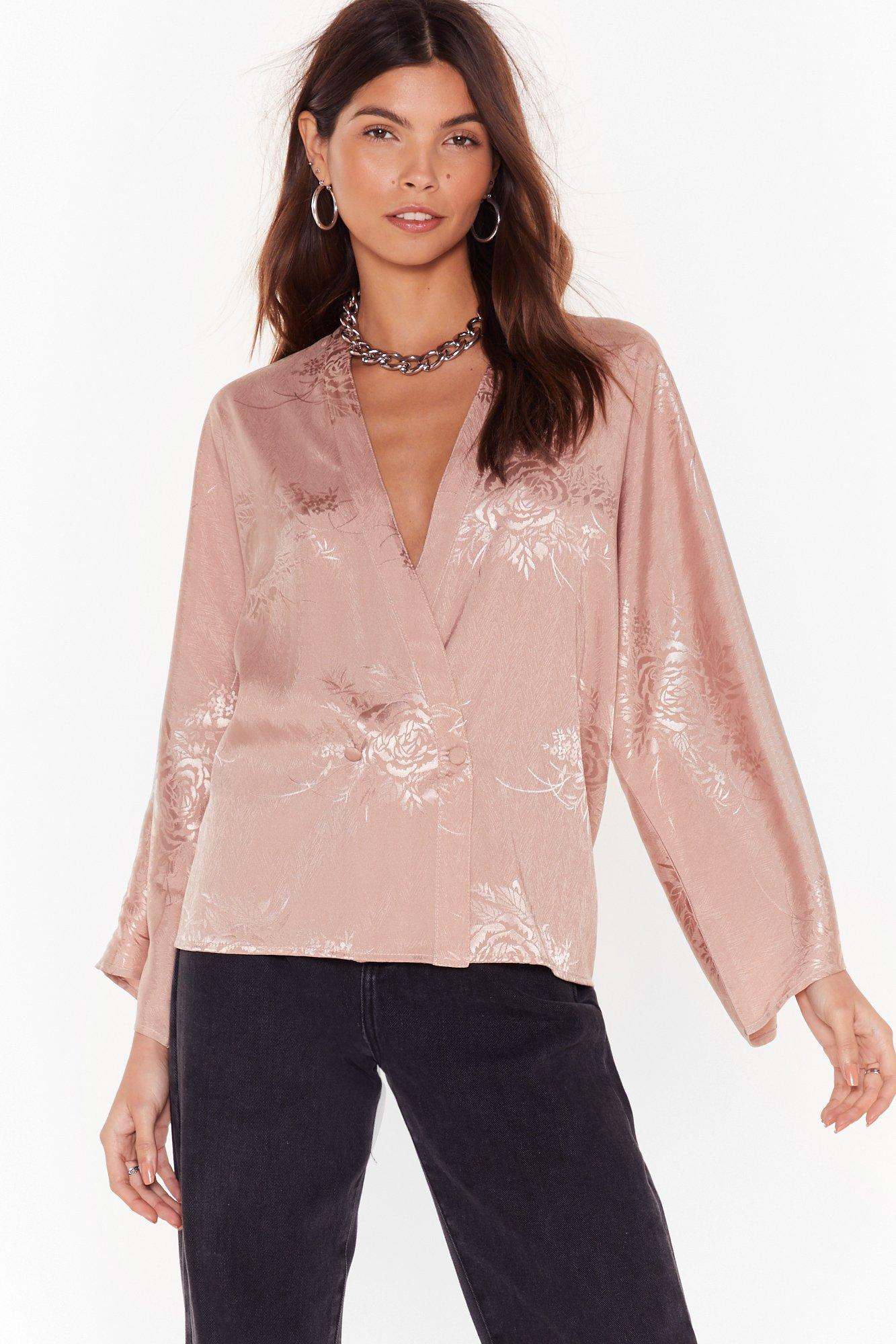 Image of Grow Hey Good Looking Satin Jacquard Blouse