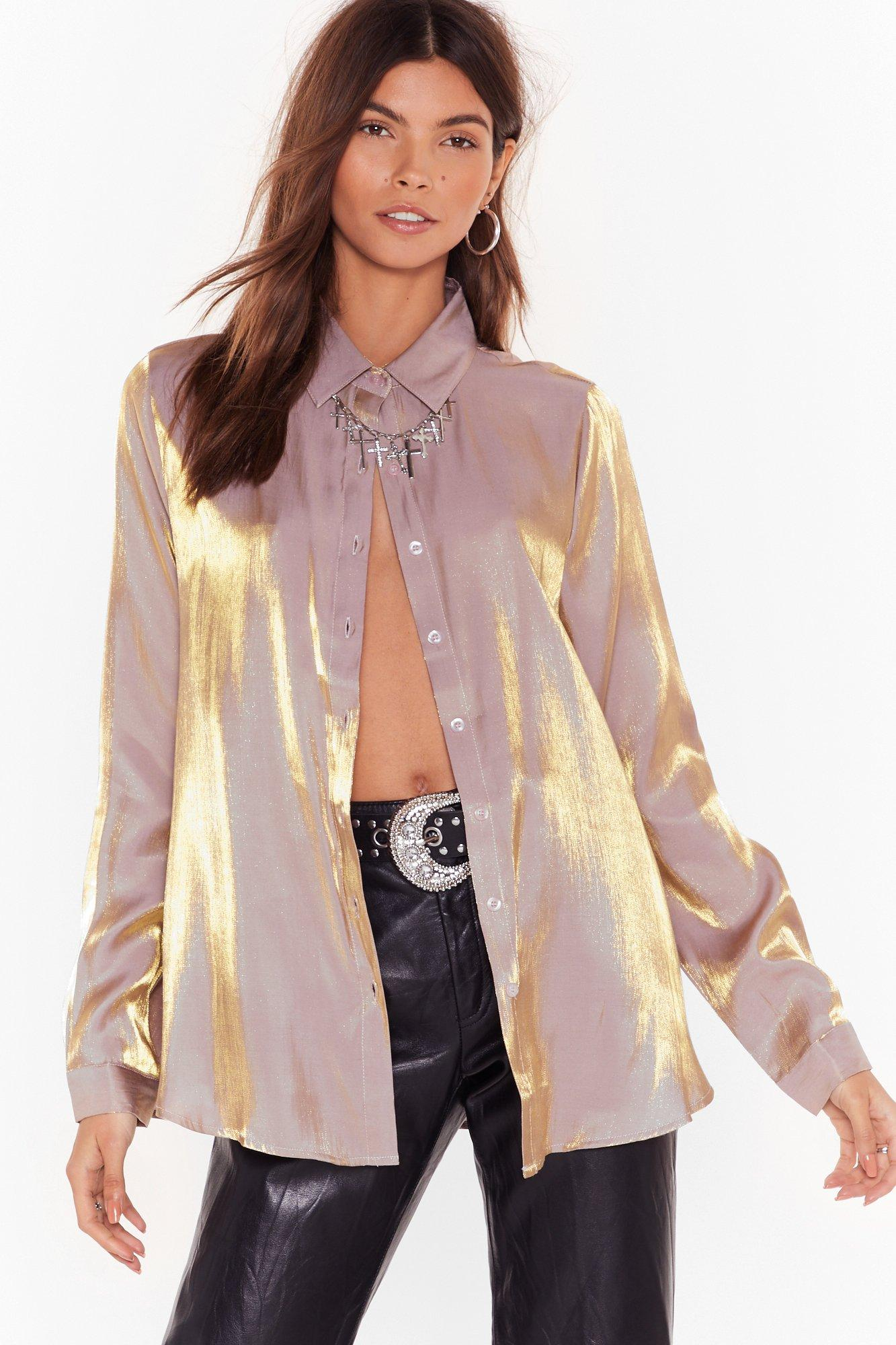 Image of Heart of Gold Metallic Relaxed Shirt