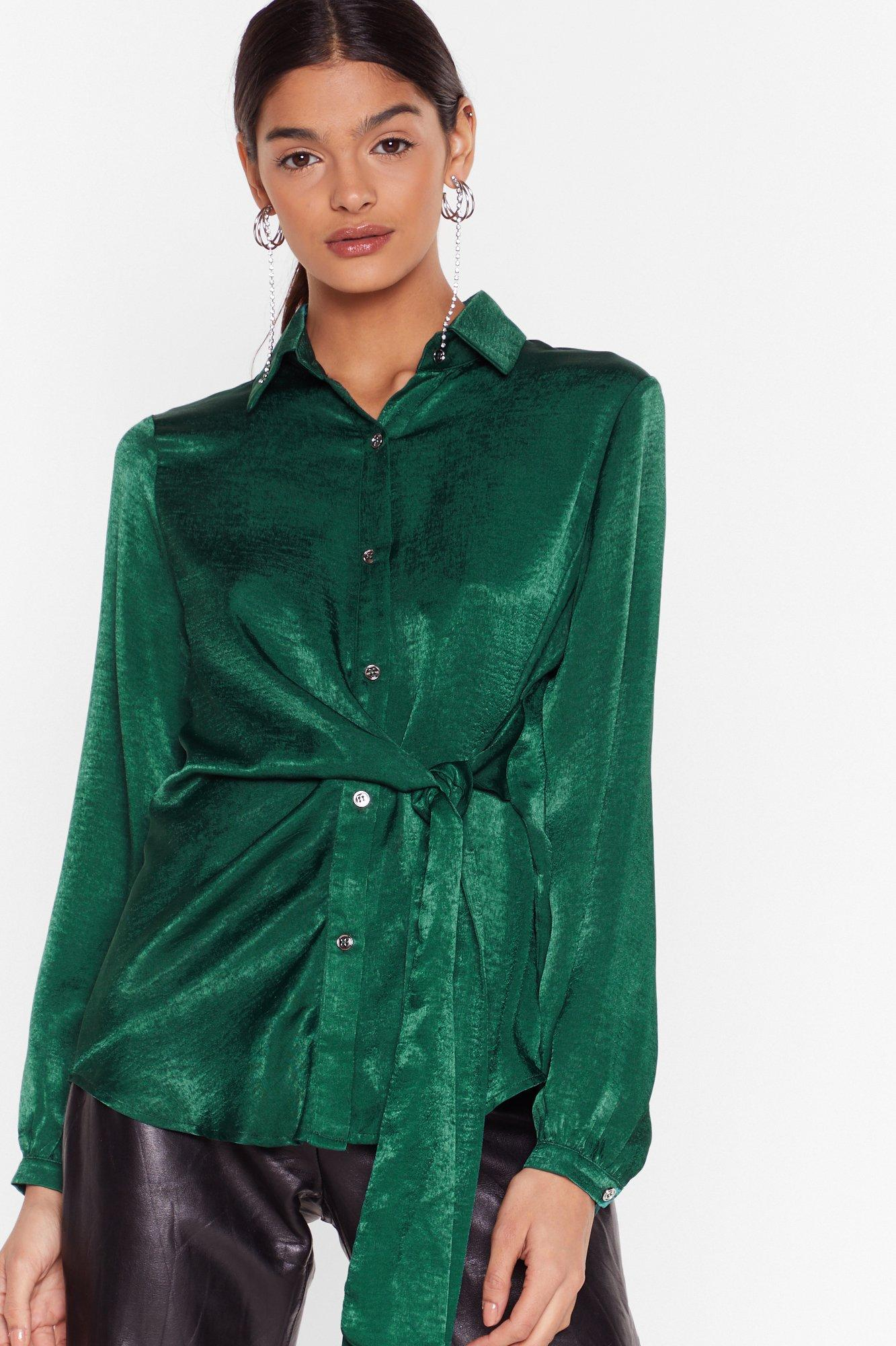 Image of Don't Tie to Stop Us Satin Shirt