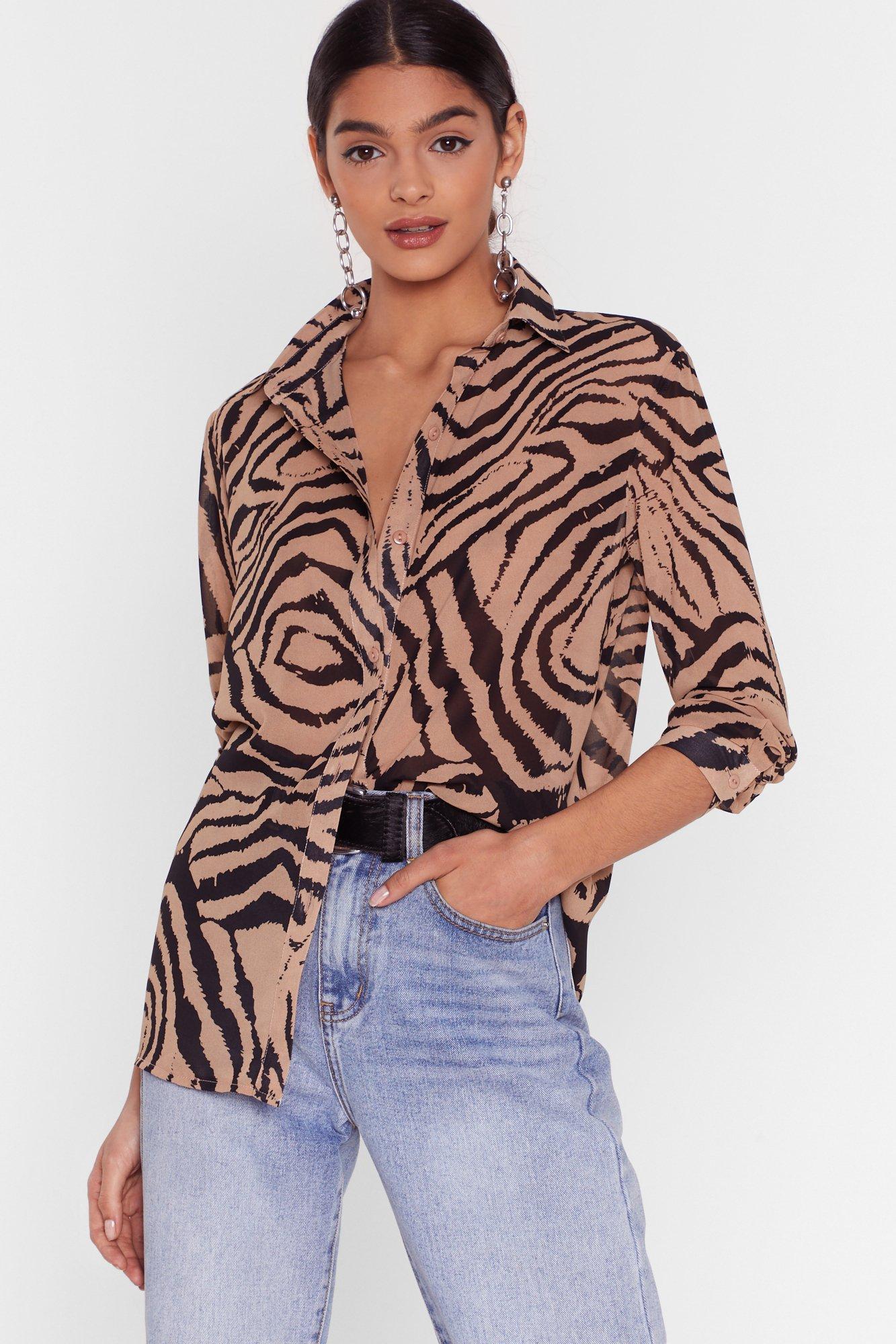 Image of We Must Be Herd Zebra Chiffon Shirt