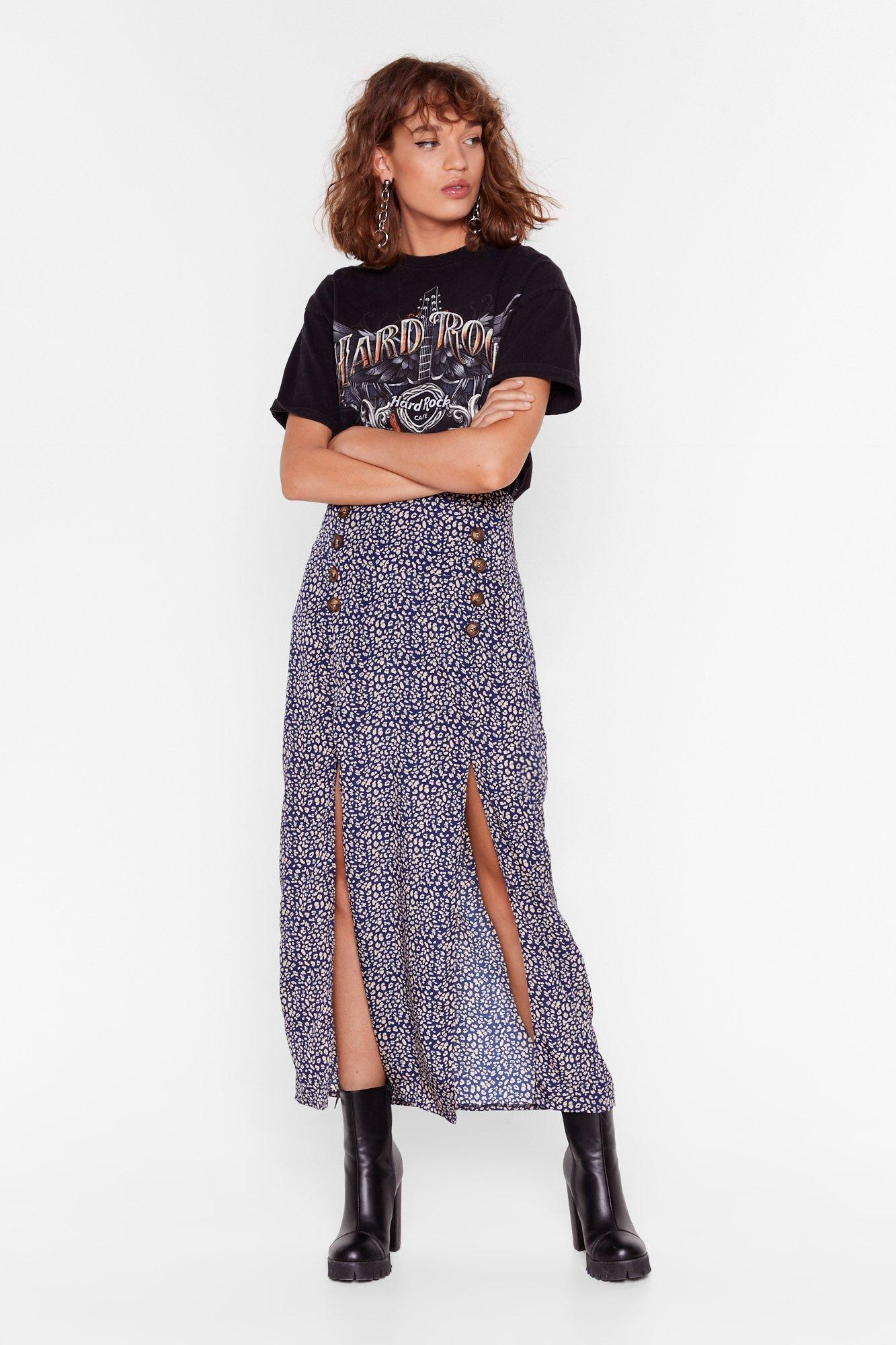 Image of Slit Got Wild Leopard Midi Skirt