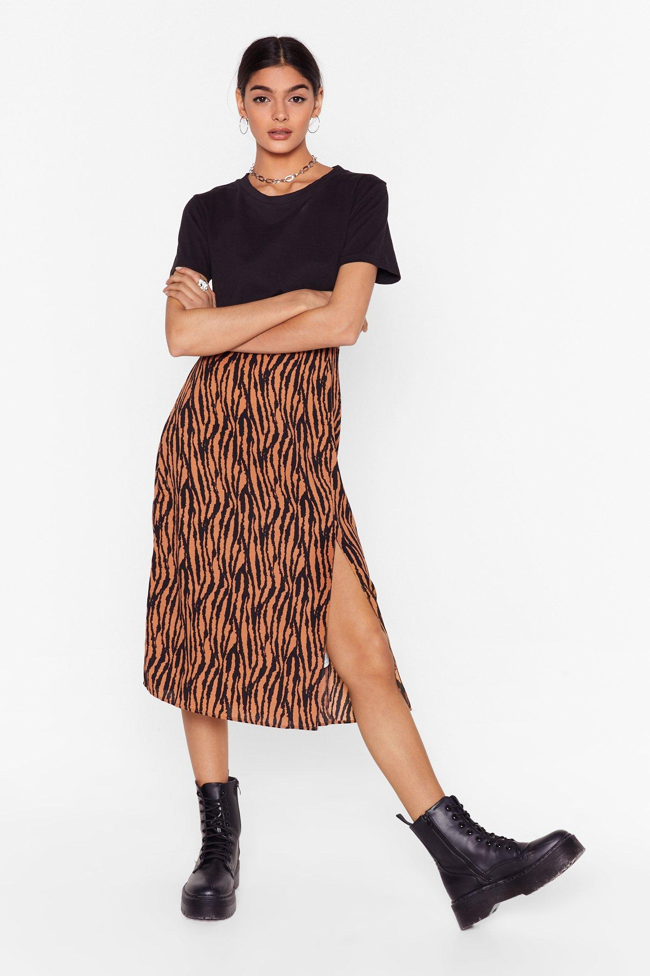 Image of Living On the Wild Side High-Waisted Midi Skirt