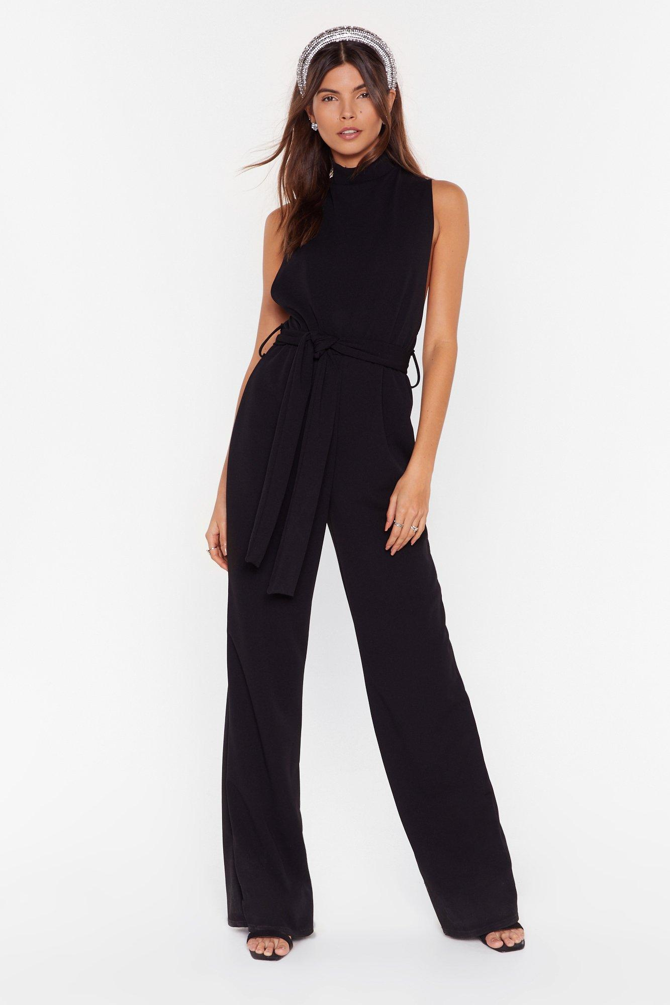 Image of Life is a Dancefloor High Neck Belted Jumpsuit