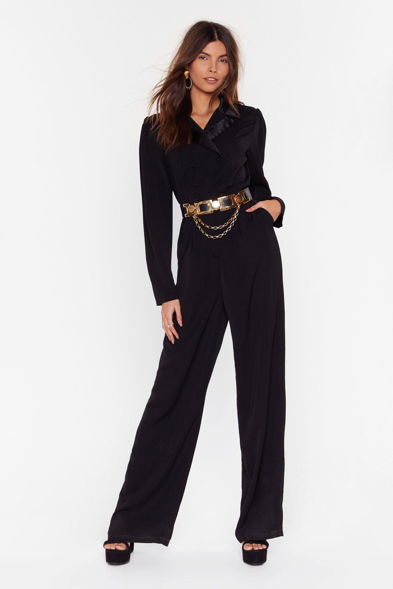Image of Getting On With Business Tailored Wide-Leg Jumpsuit