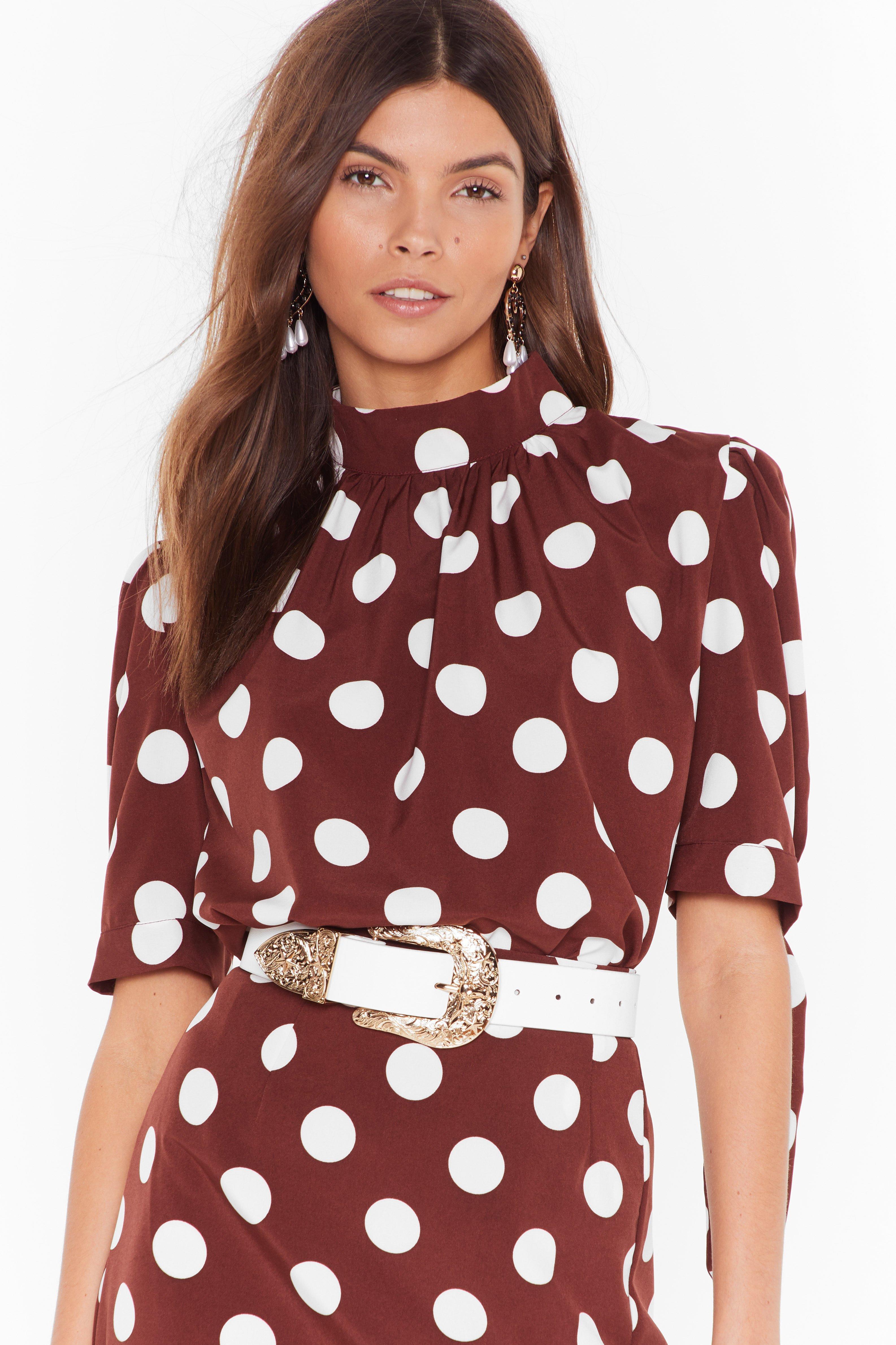 Image of Sorry is Dot Enough High Neck Blouse