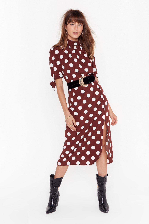 Image of Sorry is Dot Enough High-Waisted Midi Skirt