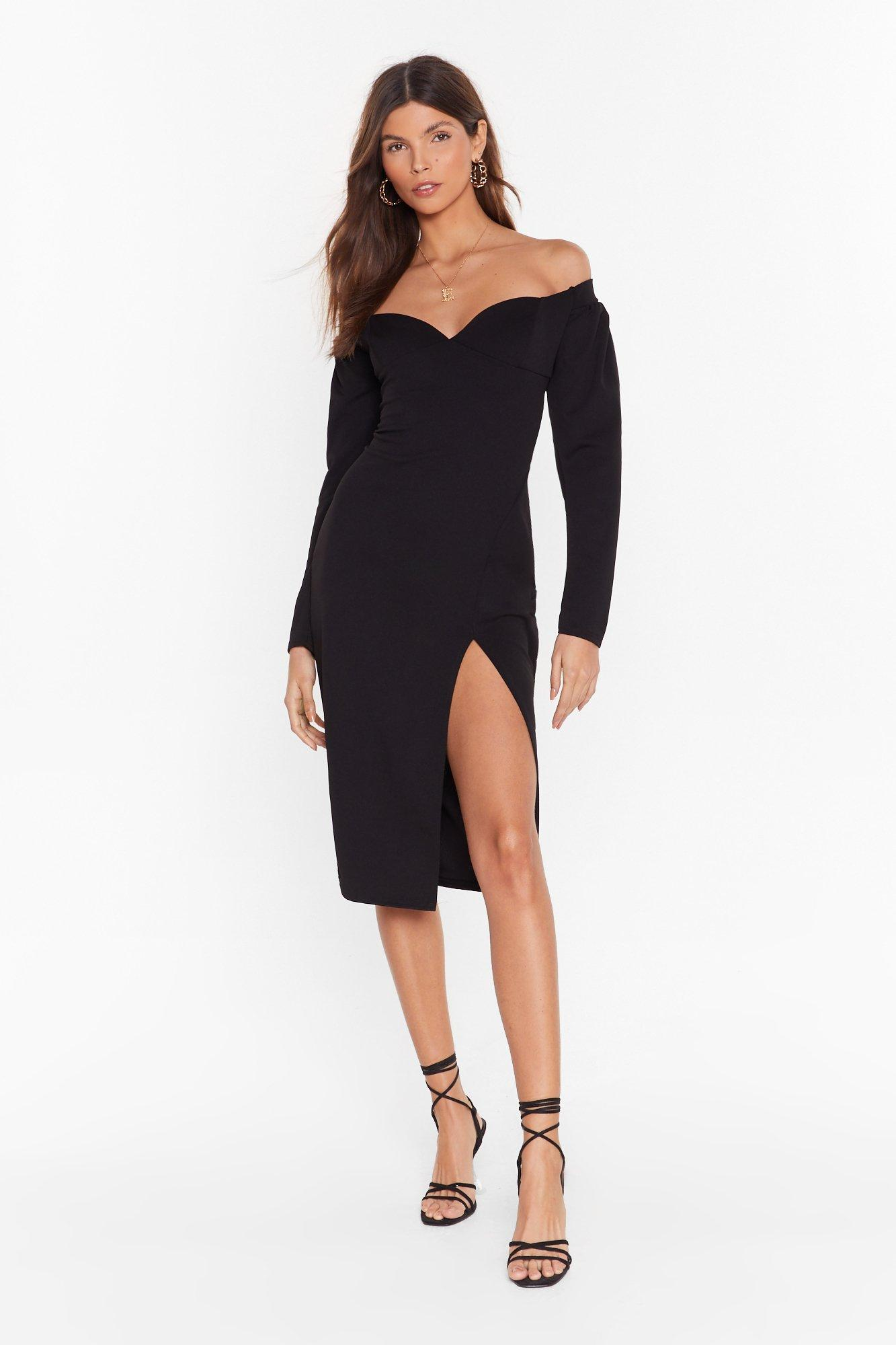 Image of Off Again Off-the-Shoulder Midi Dress
