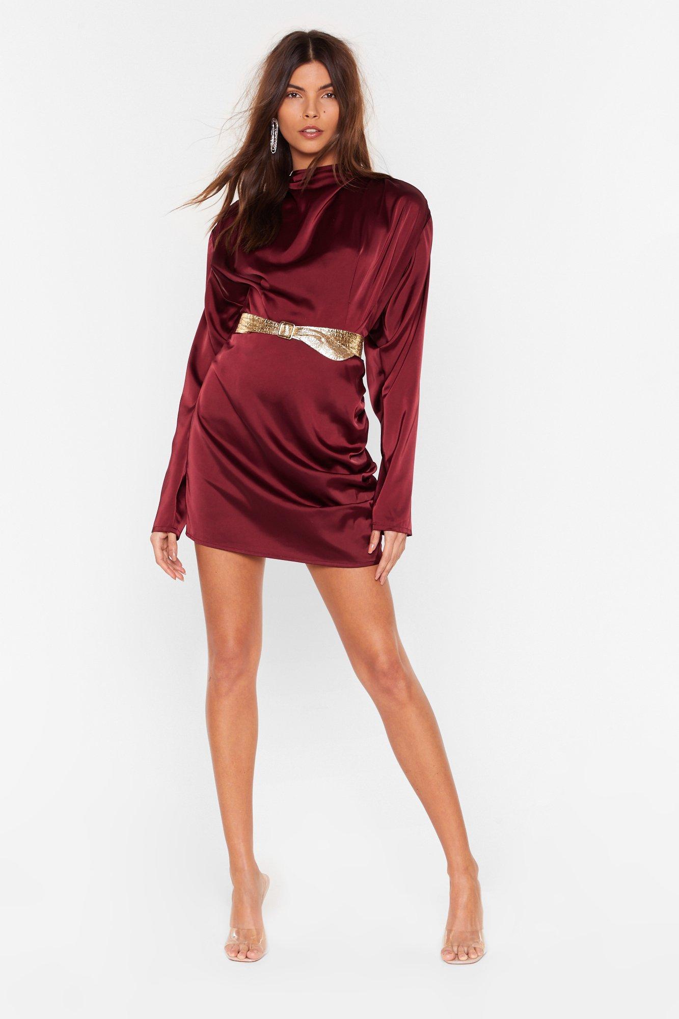 Image of In a Ruche Satin Mini Skirt
