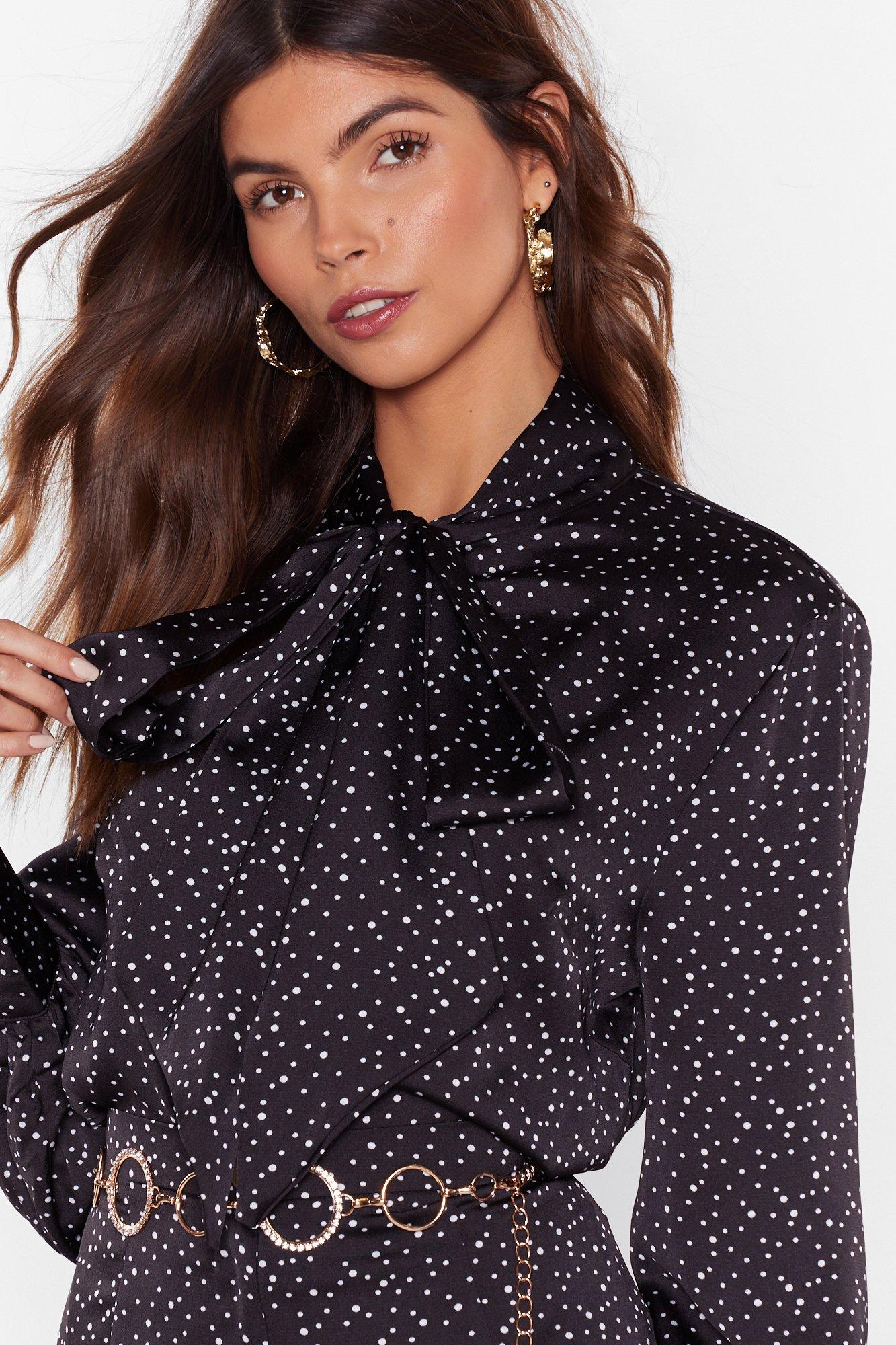 Image of Dot Goin' Anywhere Pussybow Blouse