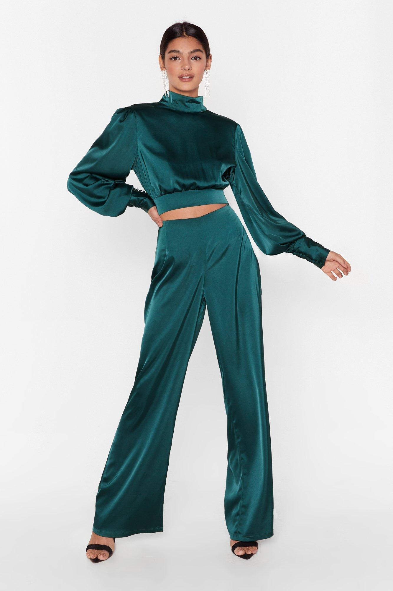 Image of Satin Fever Wide-Leg High-Waisted Pants