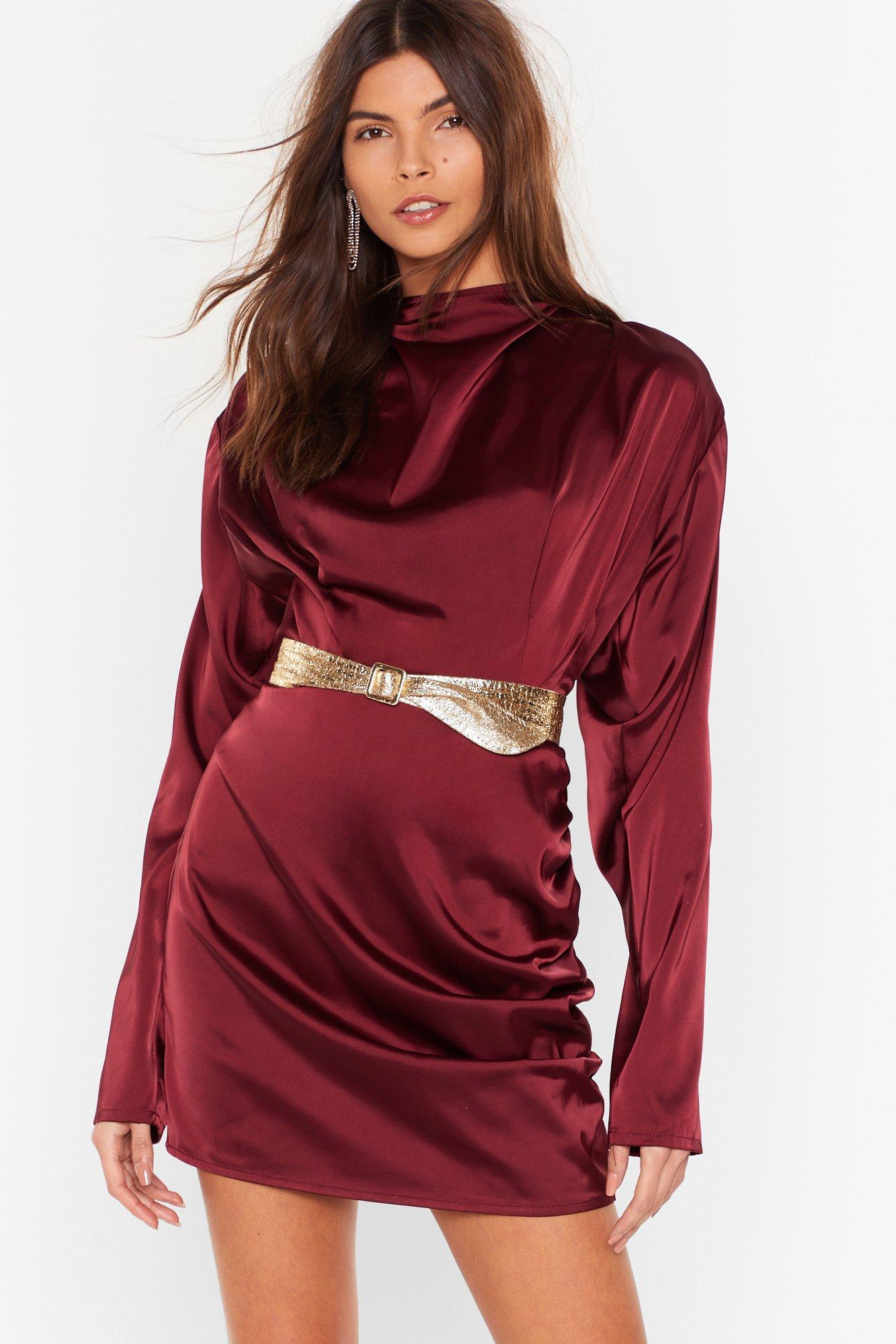 Image of In a Ruche Satin High Neck Blouse