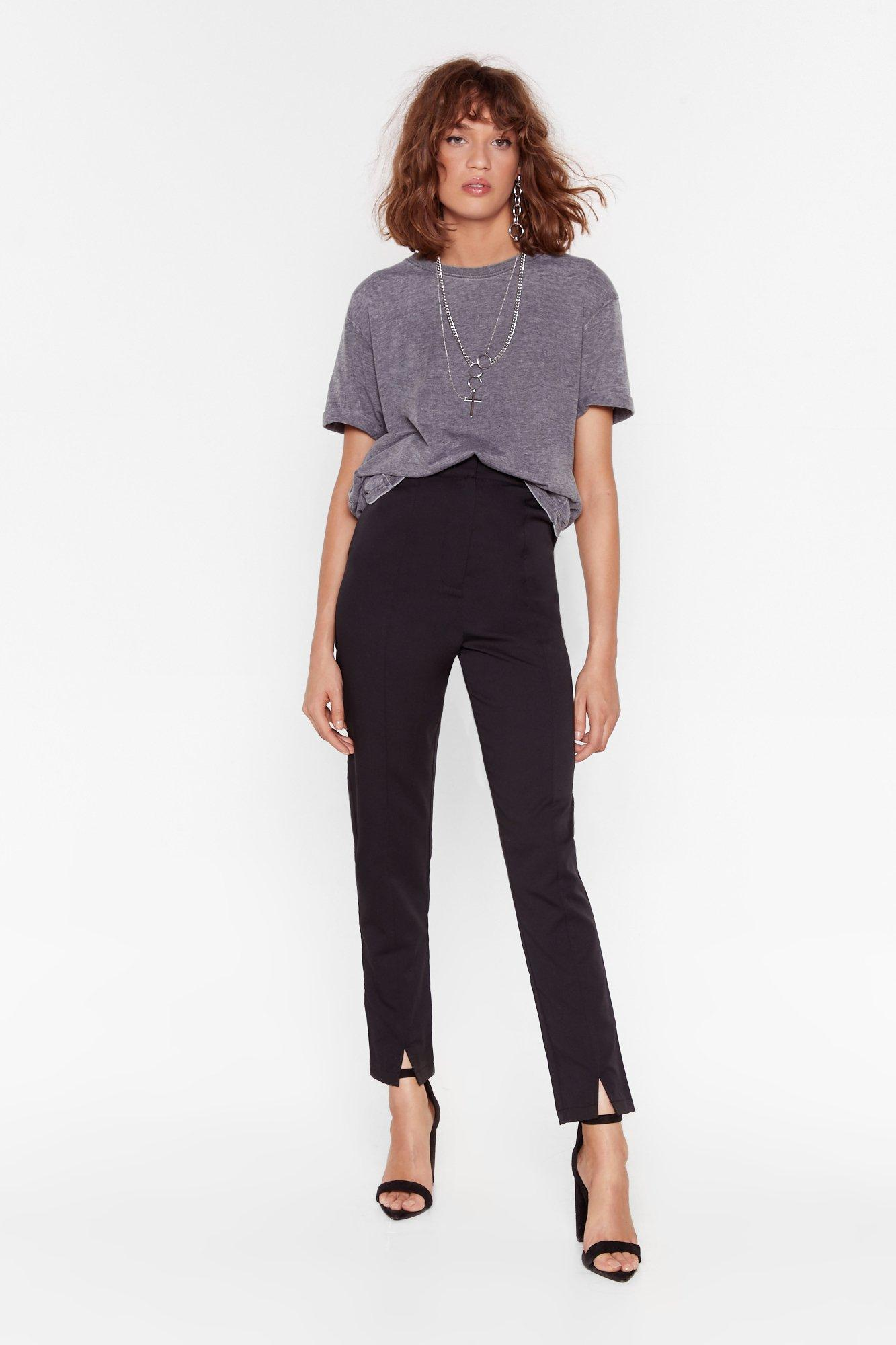 Image of Split the Cheque High-Waisted Tapered Pants