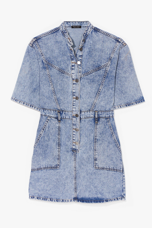 Image of Acid Wash 'n' Learn Denim Mini Dress