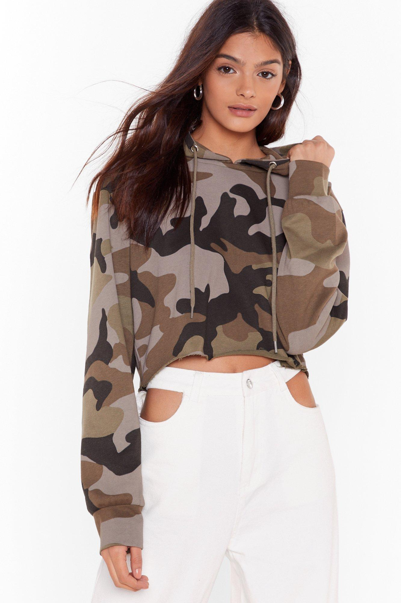 Image of Can I See You Camouflage Cropped Hoodie