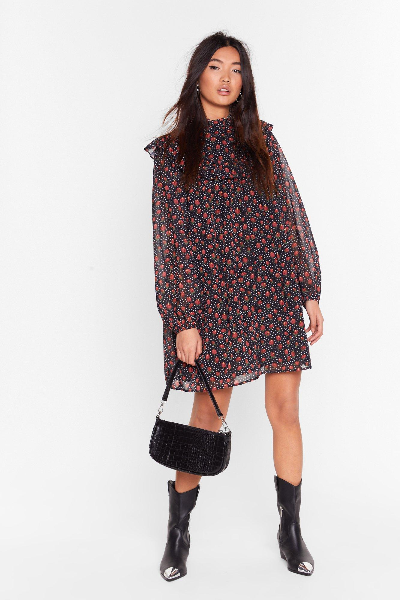 Image of Smock to the System Floral Mini Dress