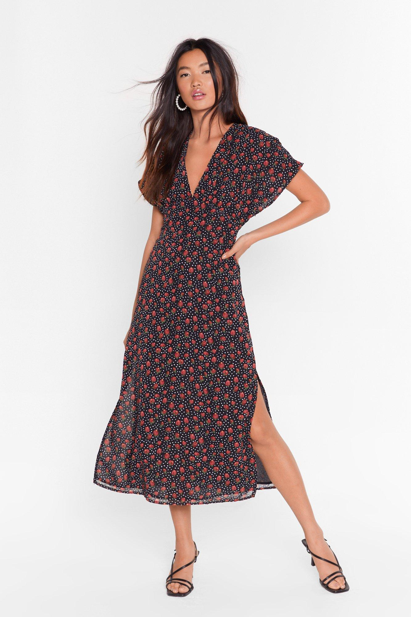 Image of Best Root Forward Floral Midi Dress