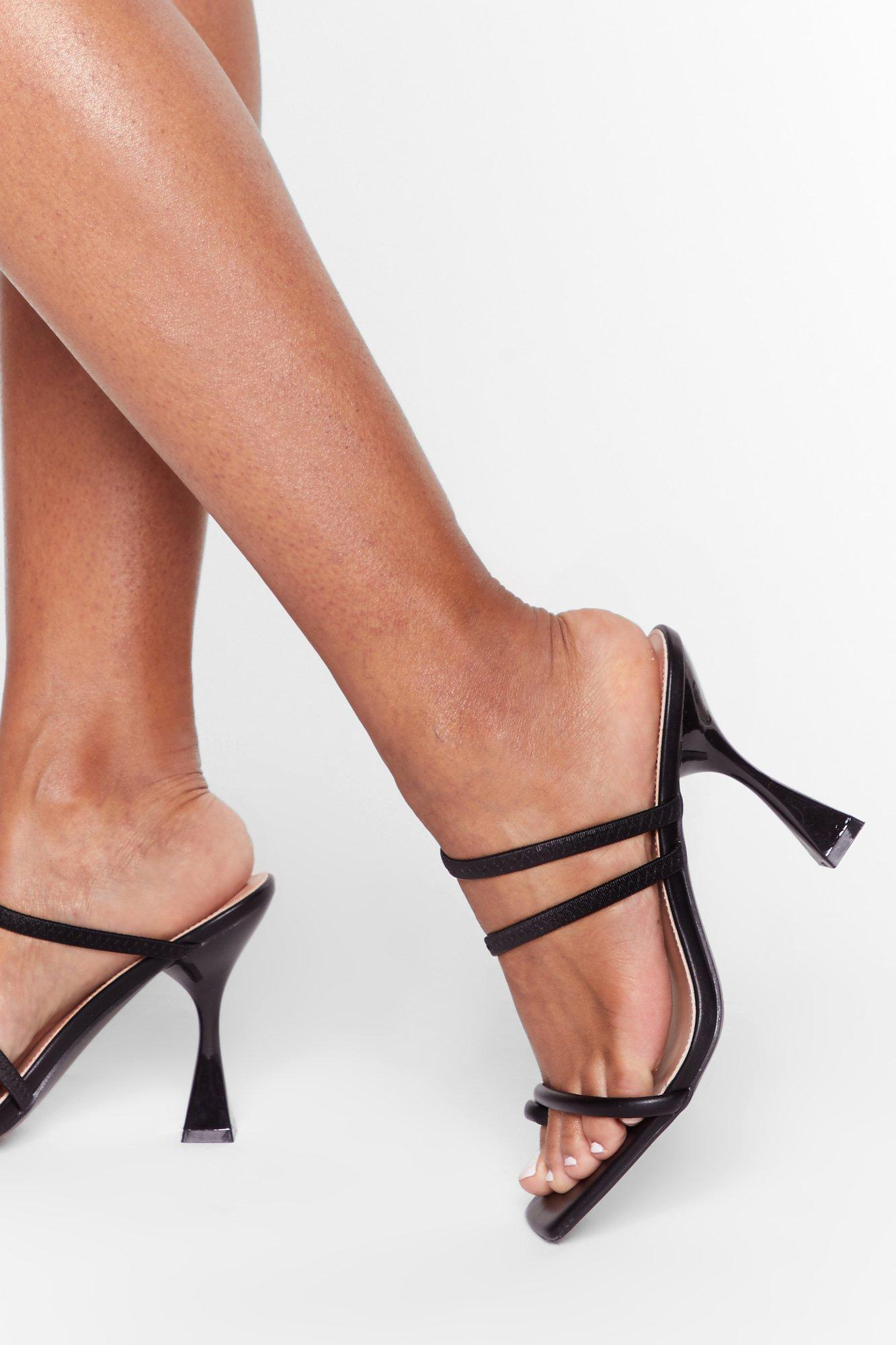 Image of Square toe louis heel strappy mules