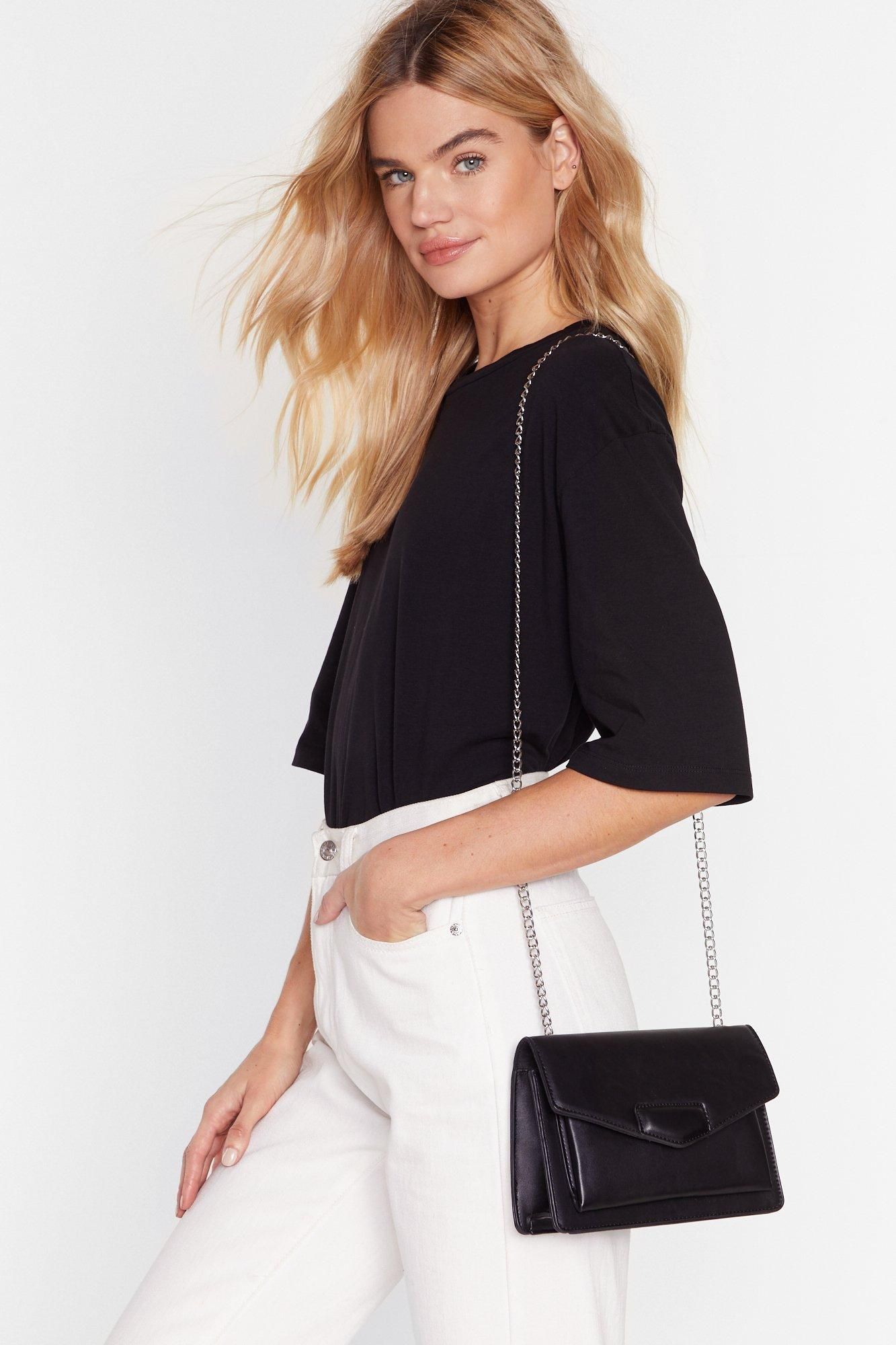 Image of Chain-ge Your Life Faux Leather Crossbody Bag