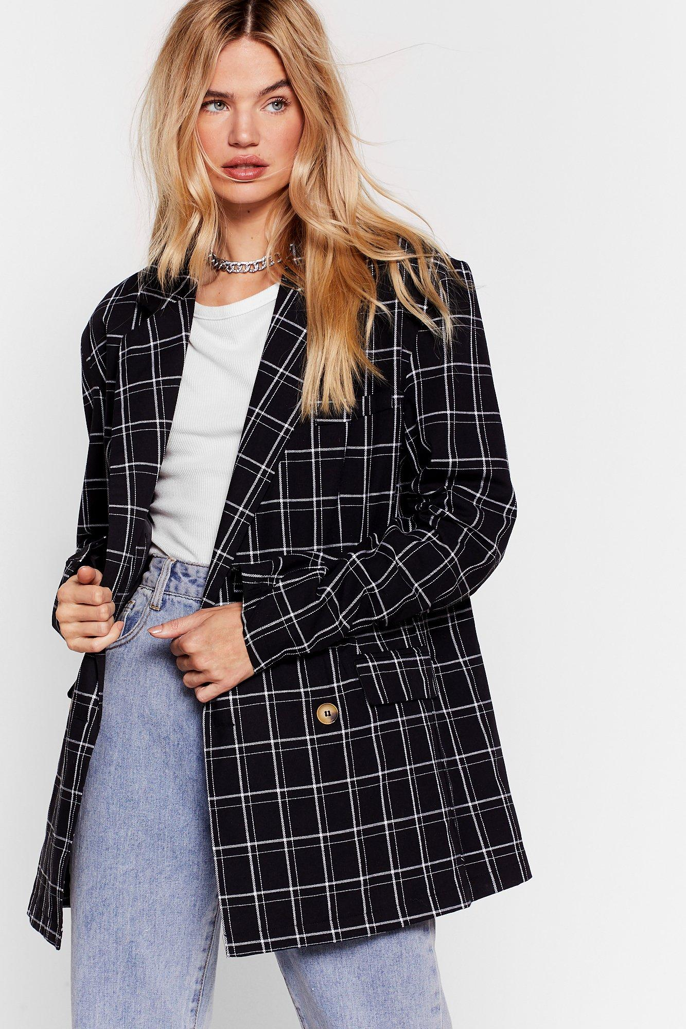Image of I Grid Something Bad Oversized Check Blazer