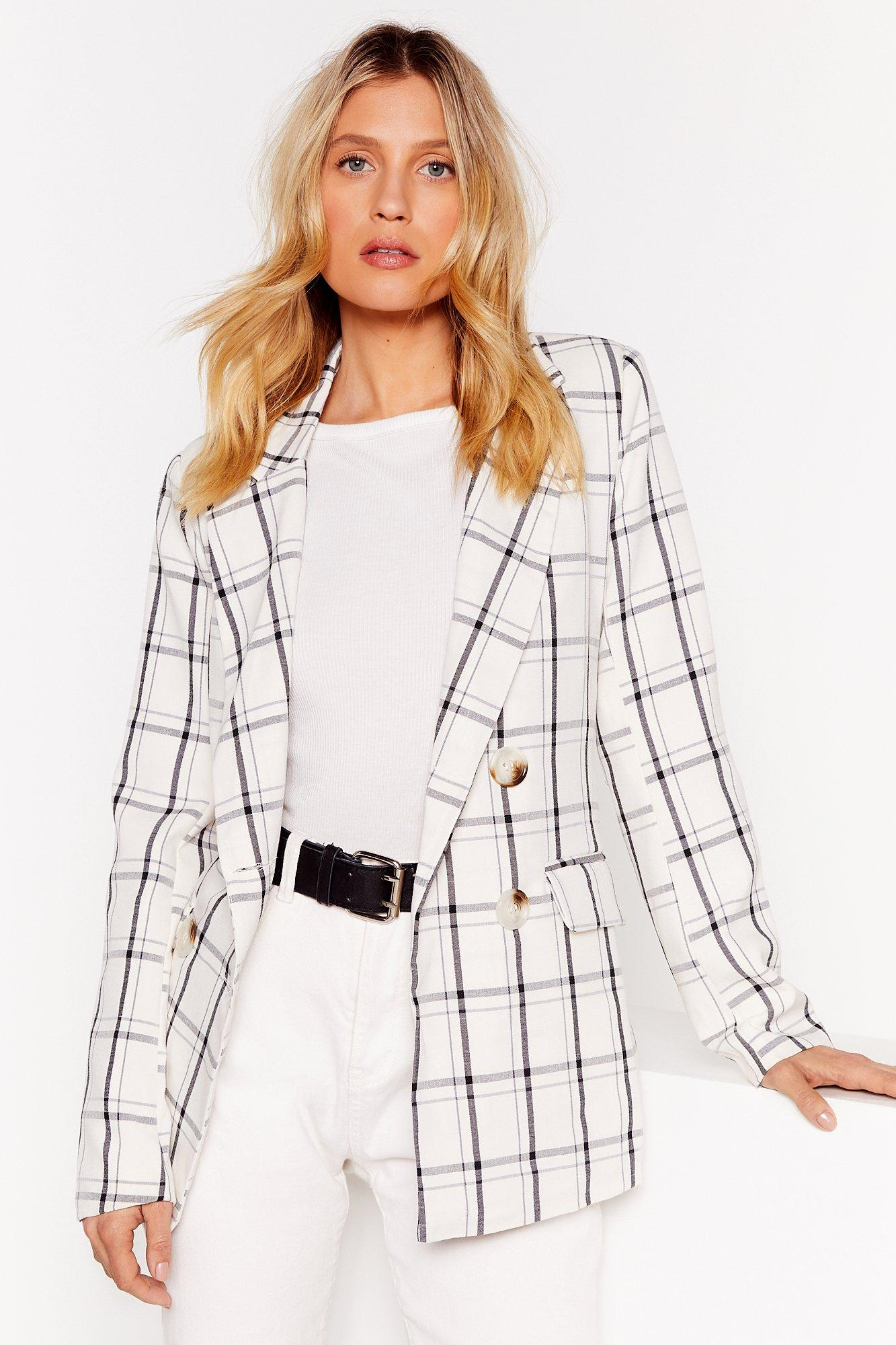 Image of You Grid It Double Breasted Check Blazer