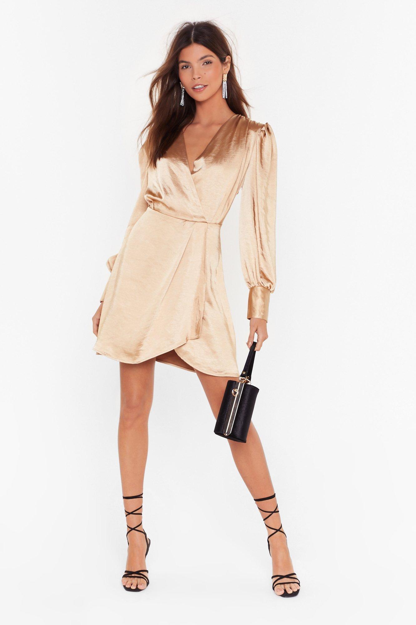 Image of Get It Together Satin Wrap Dress