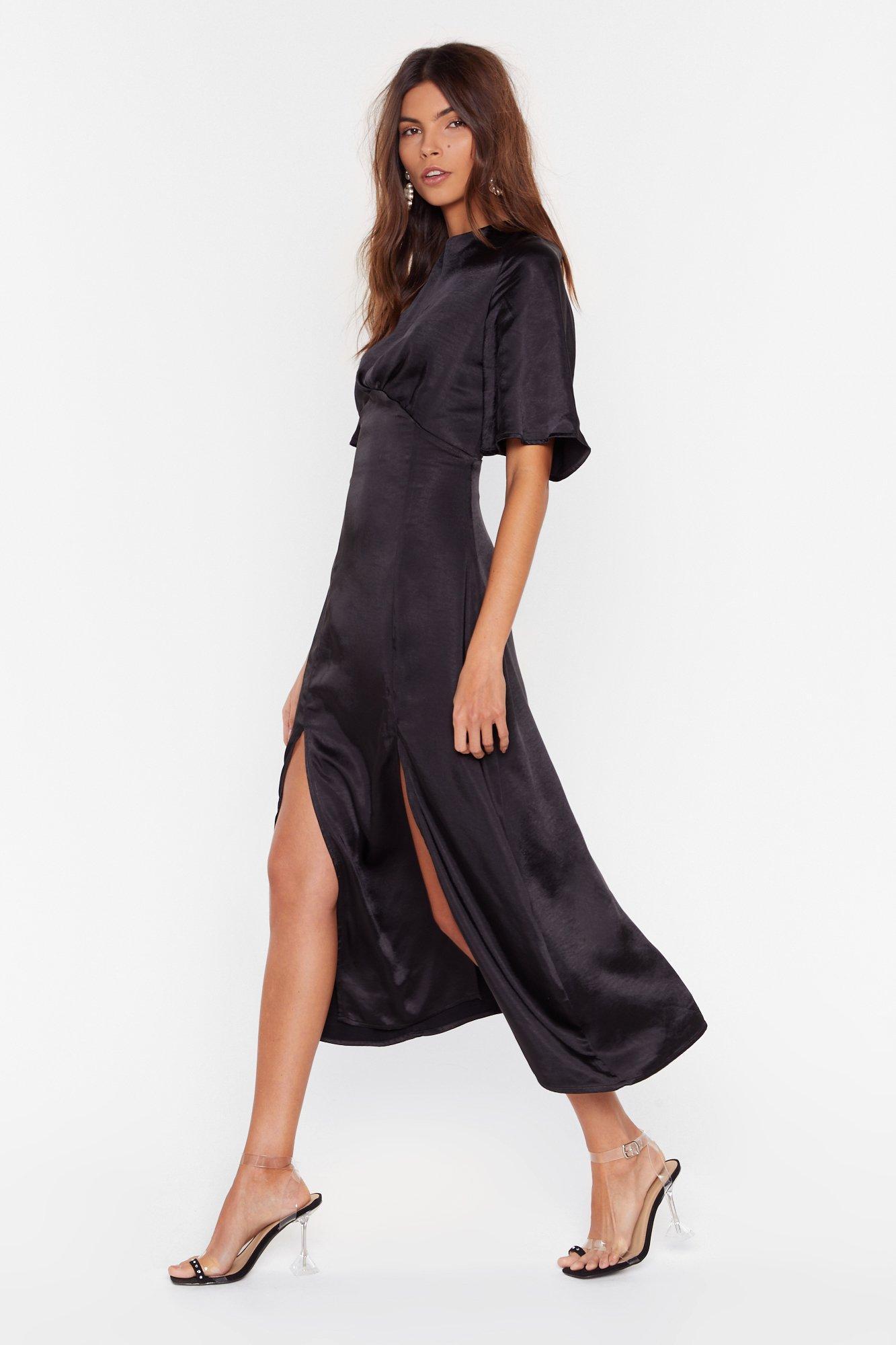 Image of Make Your Smooth Satin Midi Dress