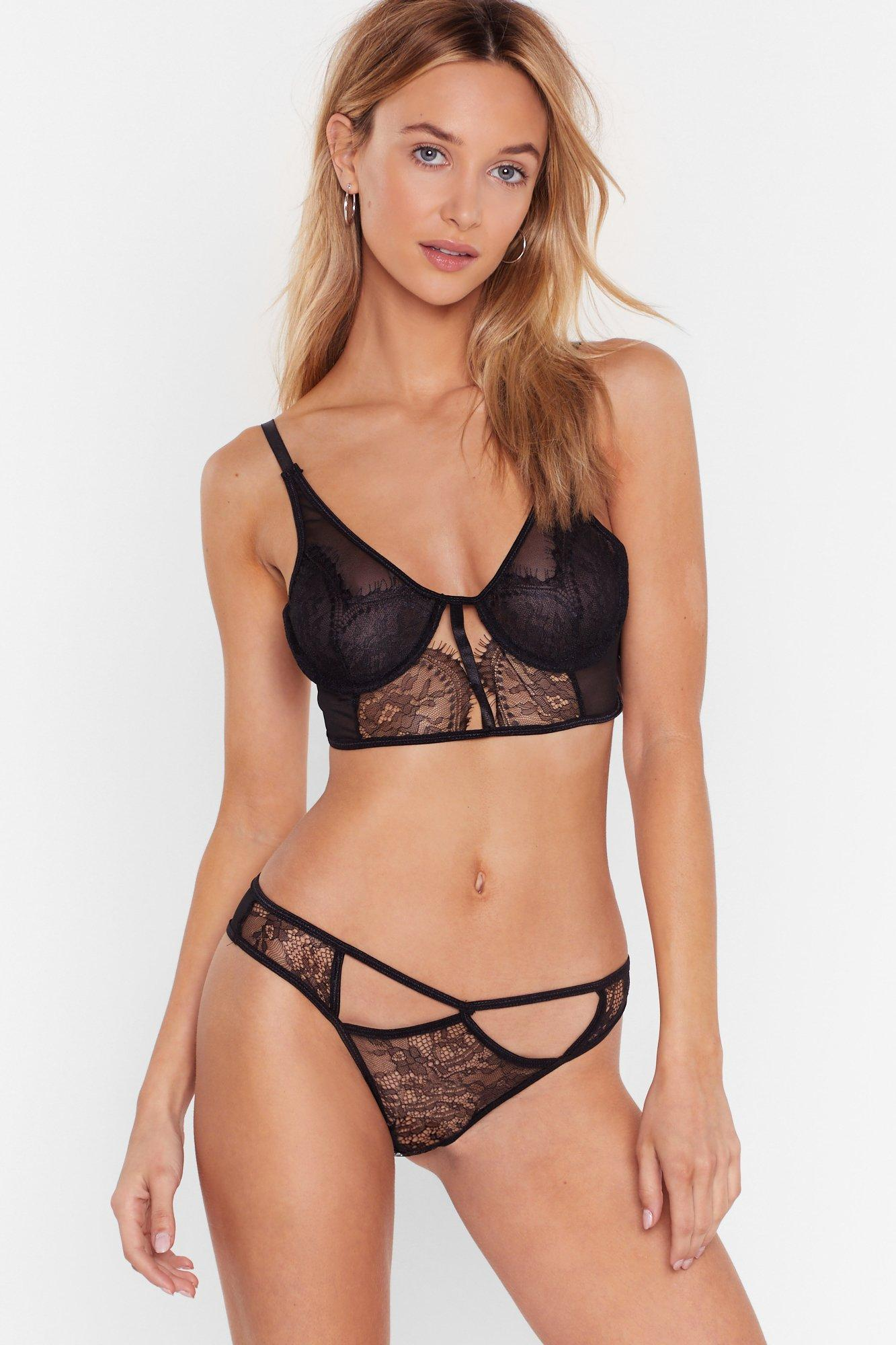 Image of Cut-Out for the Night Lace Bralette and Panty Set