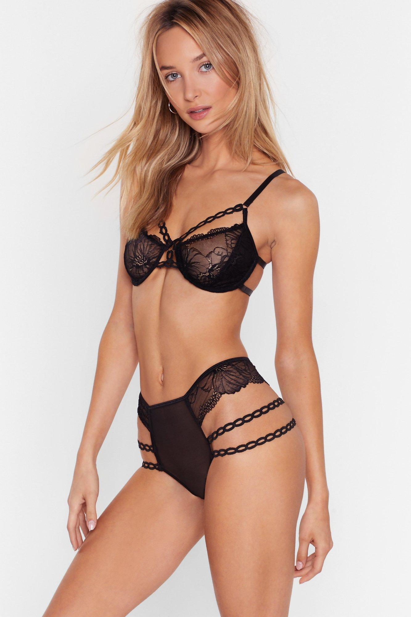 Image of Let's Grow Strappy Lace Bralette and Panty Set