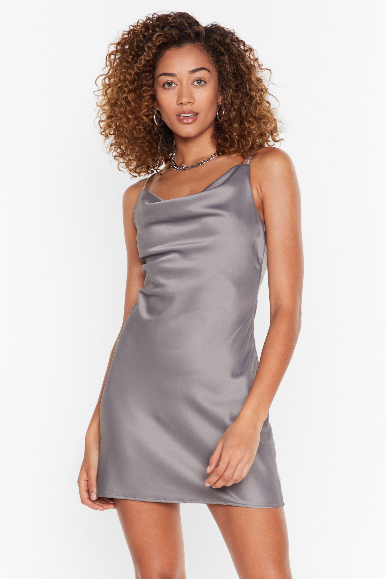Image of Gimme a Cowl Satin Mini Dress