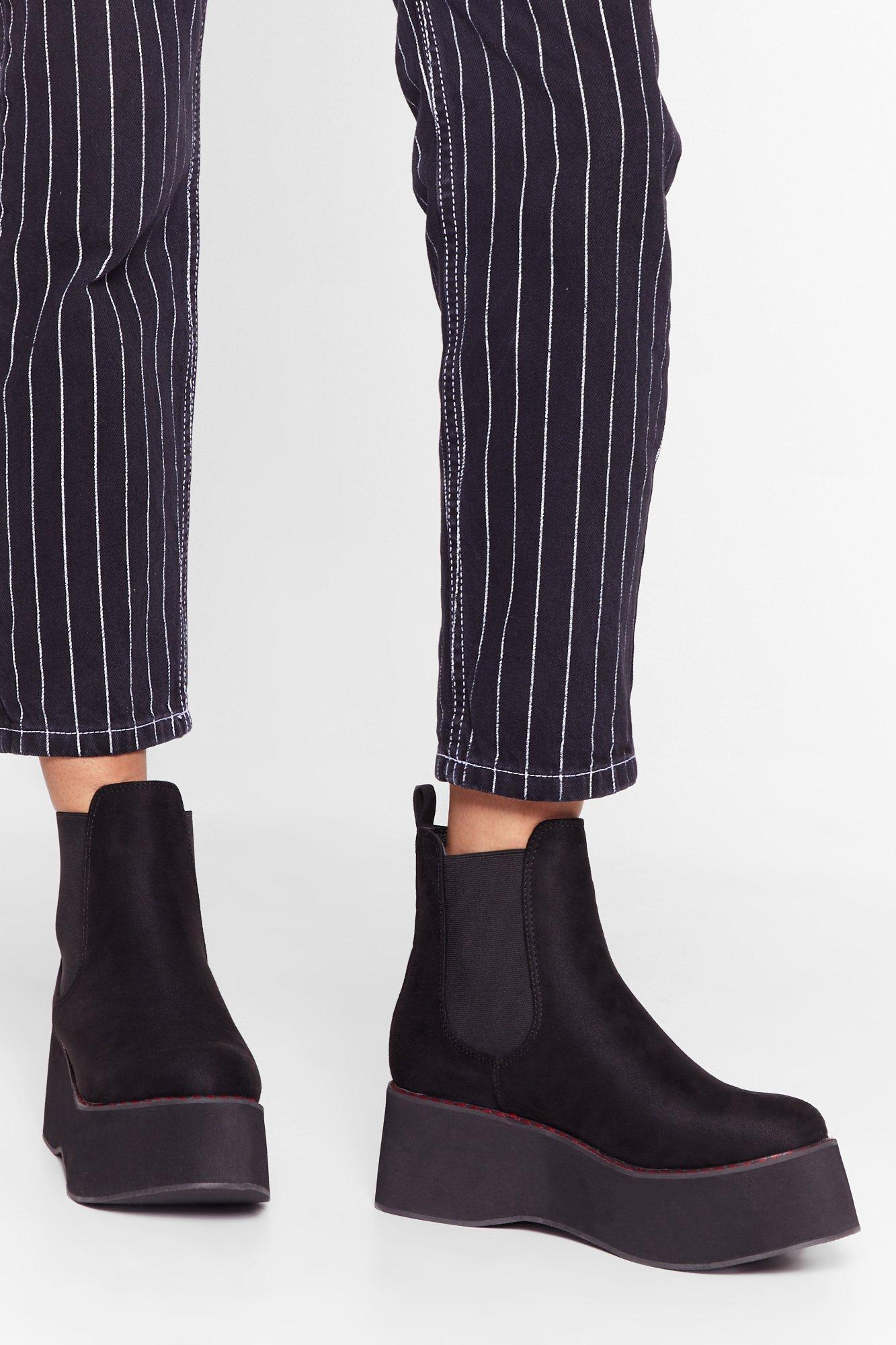 Image of Stitch 'Em Up Faux Suede Platform Boots