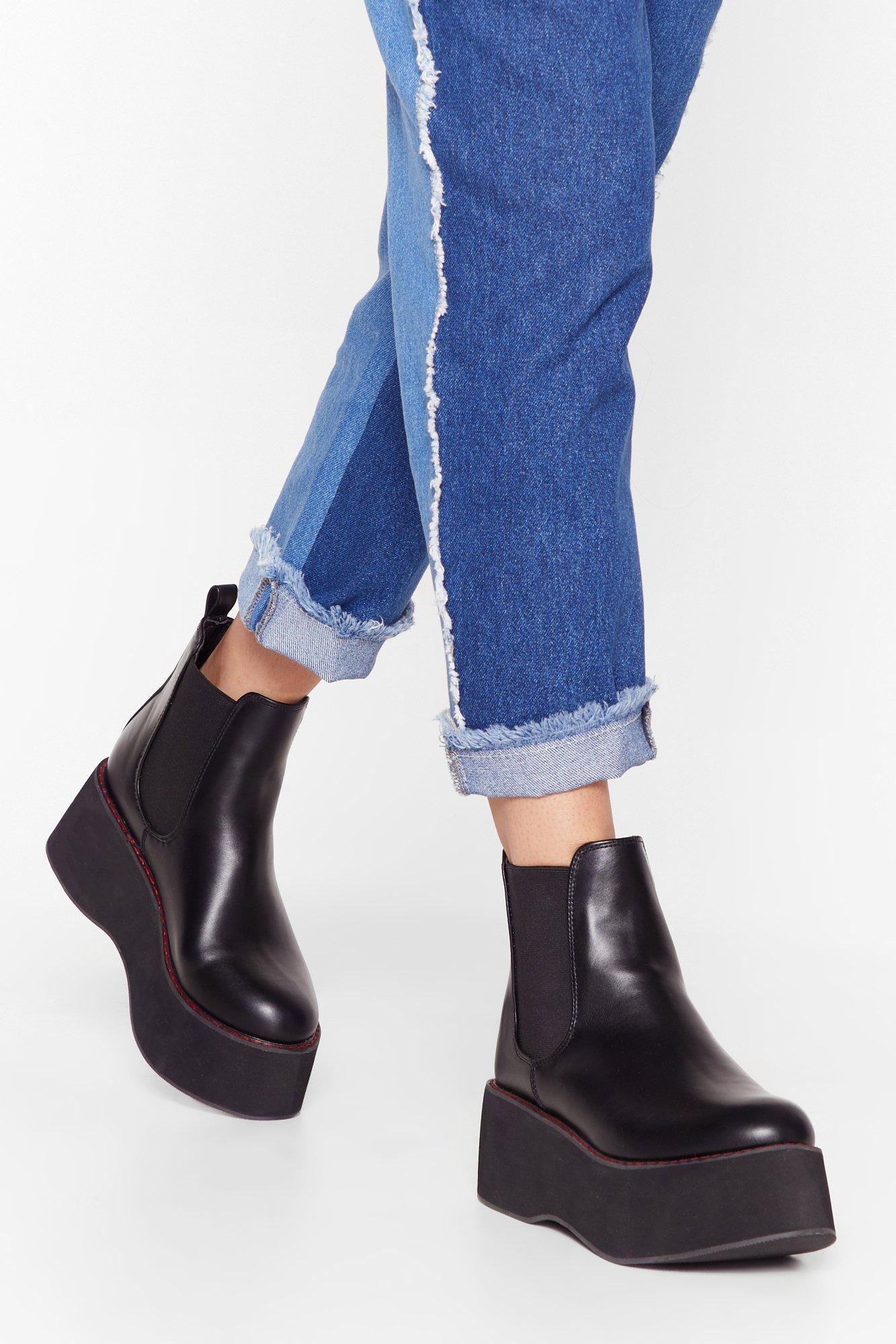 Image of Stitch 'Em Up Faux Leather Platform Boots