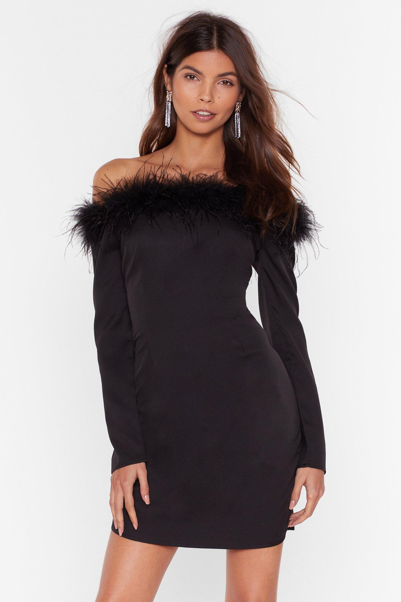Image of Don't Ruffle My Feathers Off-the-Shoulder Dress