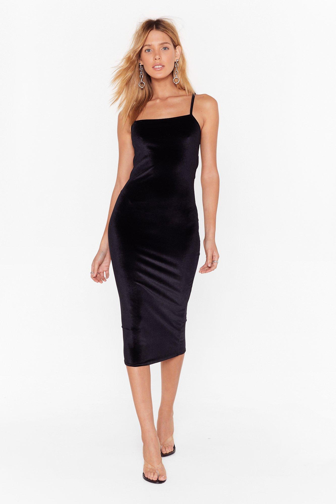 Image of Square You Goin' Velvet Midi Dress