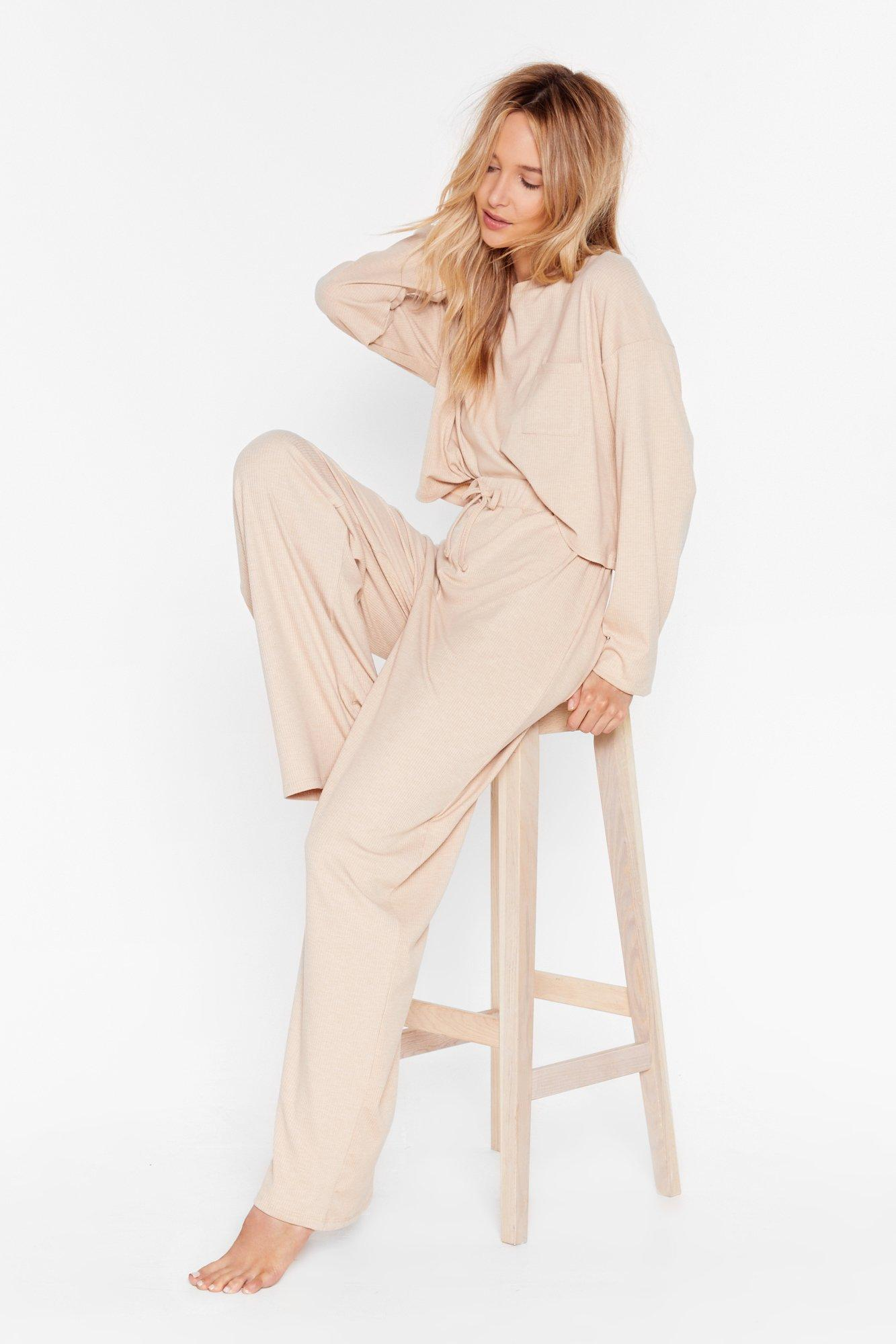 Image of Come Chill With Us Ribbed Pants Lounge Set