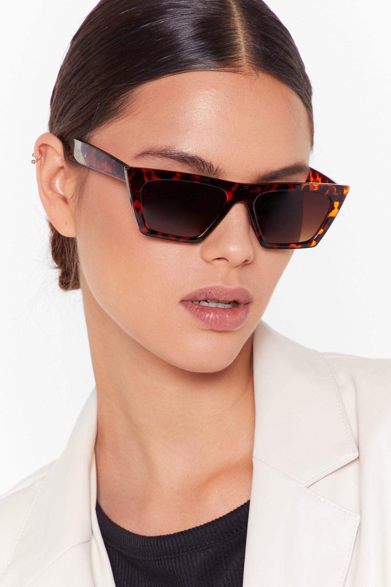Image of Who Would've Tort Slim Cat-Eye Sunglasses