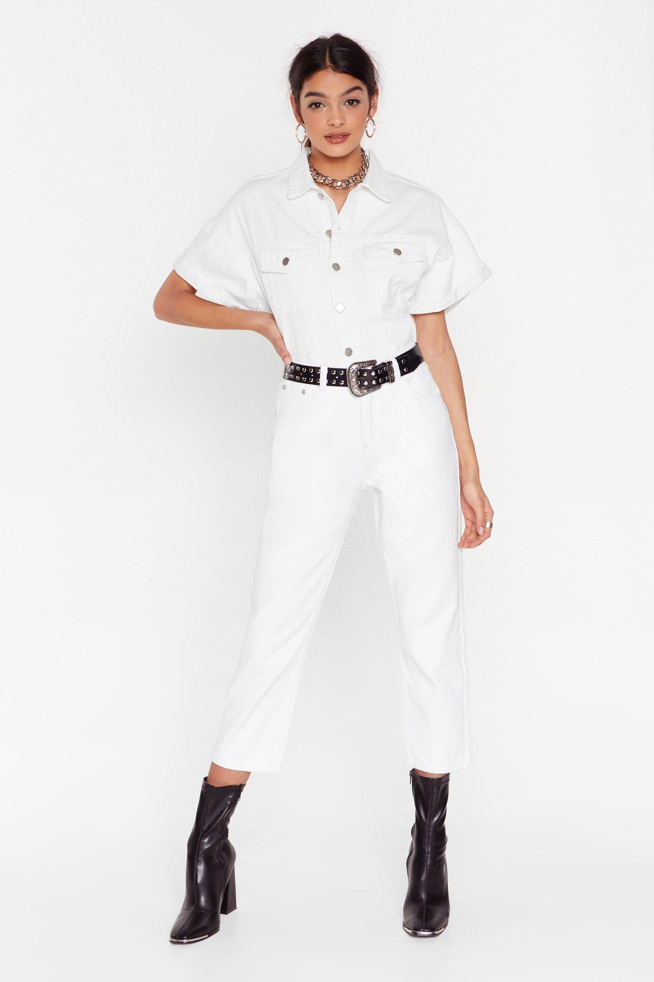 Image of Straighten Your Act High-Waisted Denim Jeans