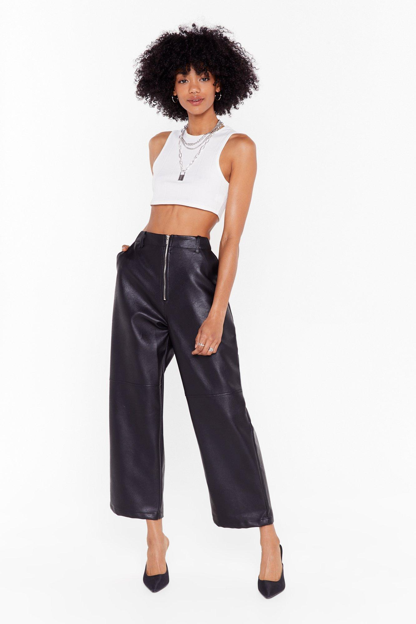 Image of Faux Leather Gonna Give You Up Wide-Leg Pants