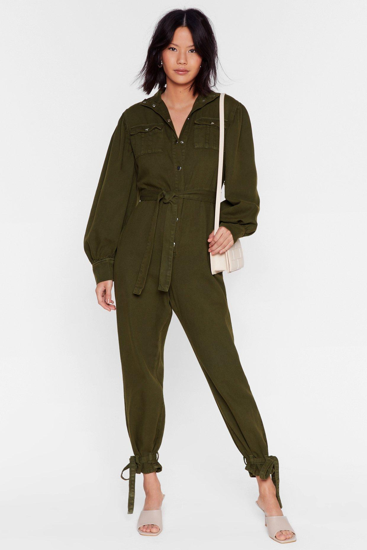 Image of Switch Up the Volume Denim Belted Boilersuit