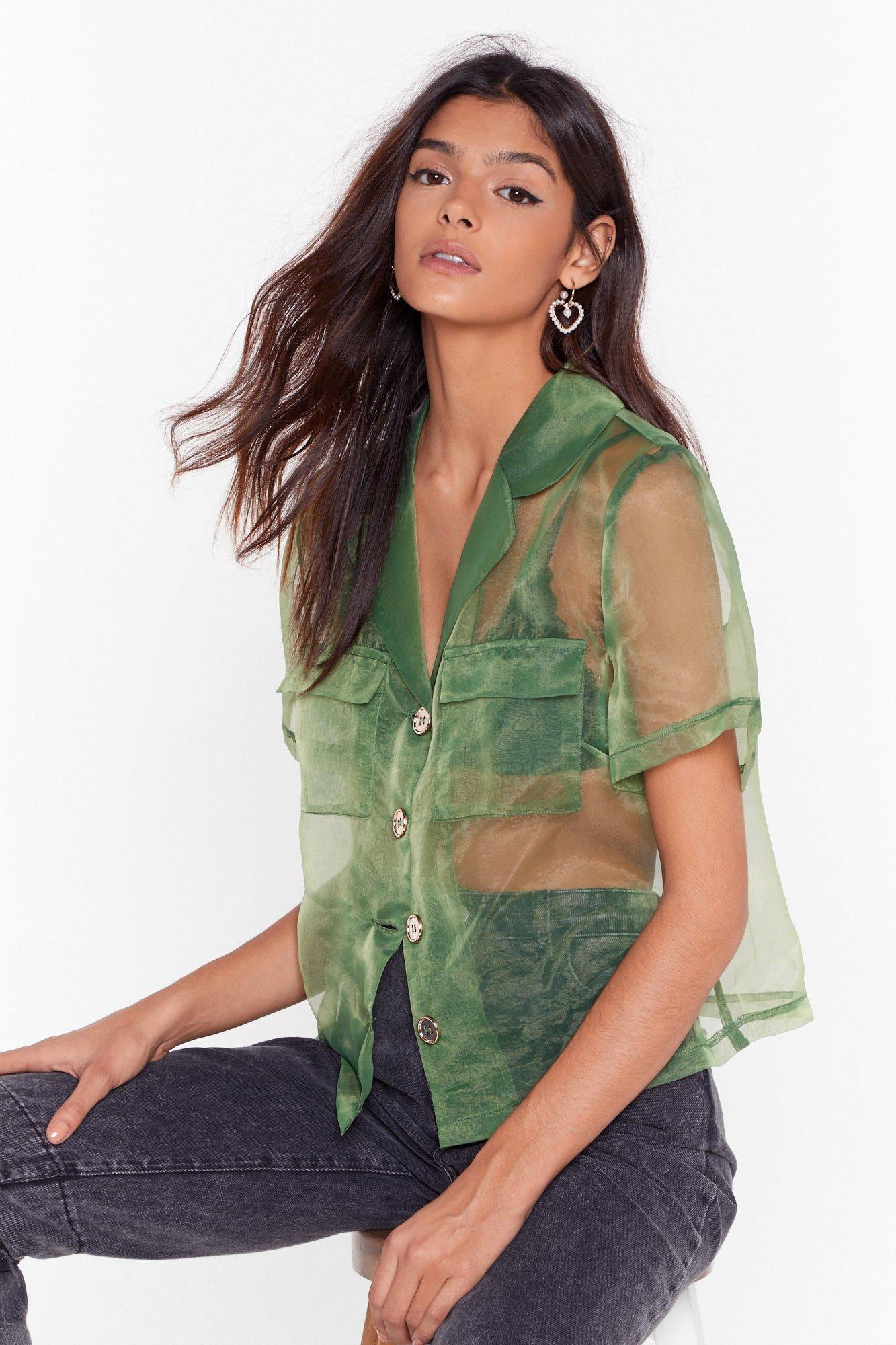Image of We Can See Through You Organza Cropped Shirt