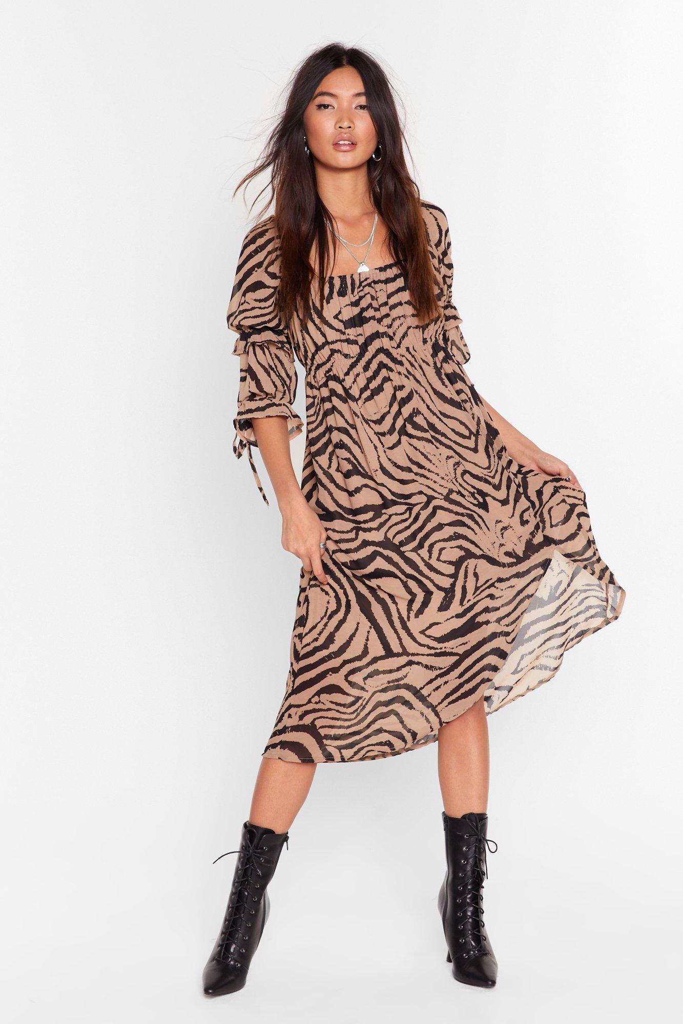 Image of I'm the Wild One Zebra Midi Dress