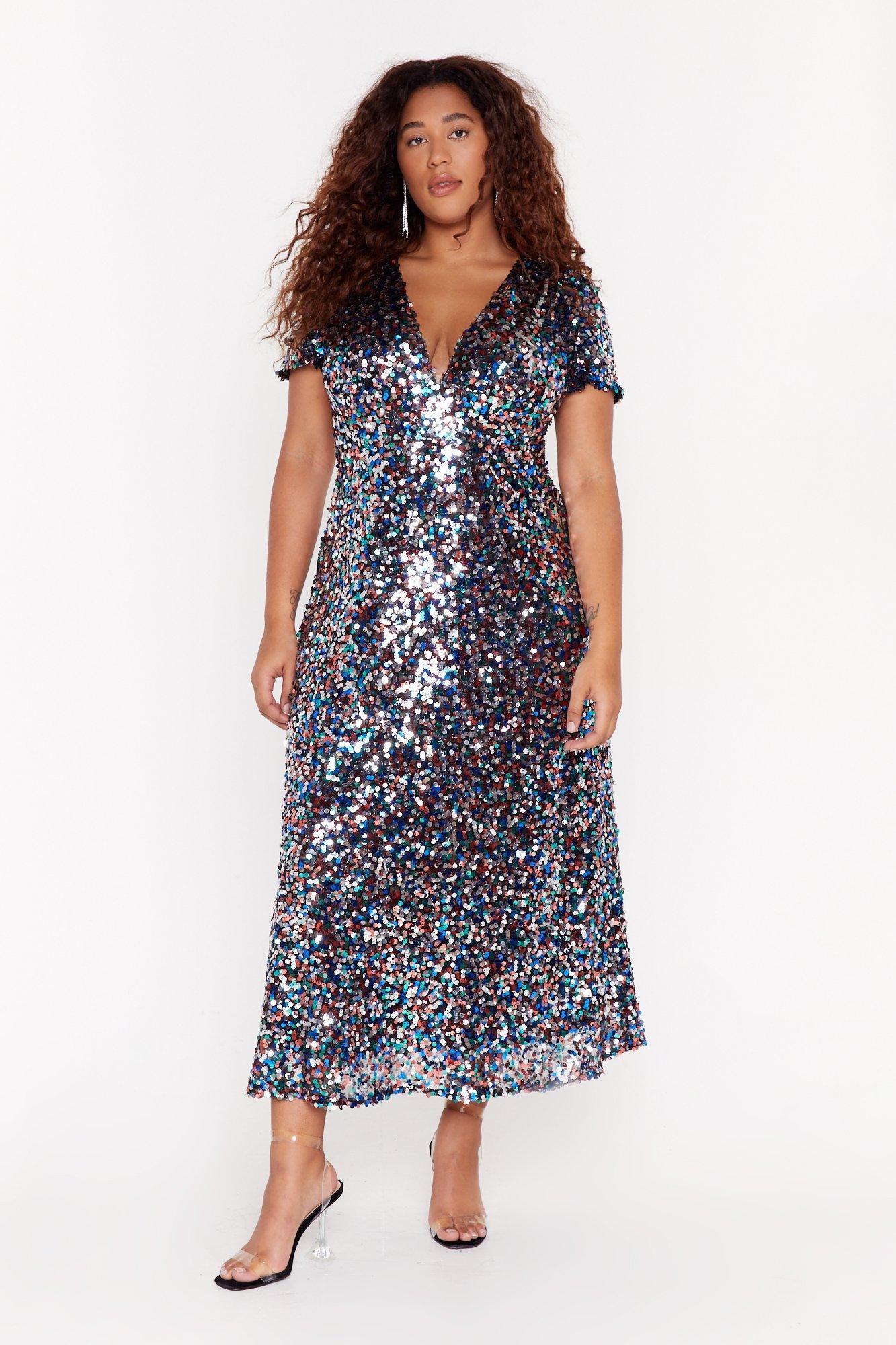 Image of plus sequin multi disk midi dress