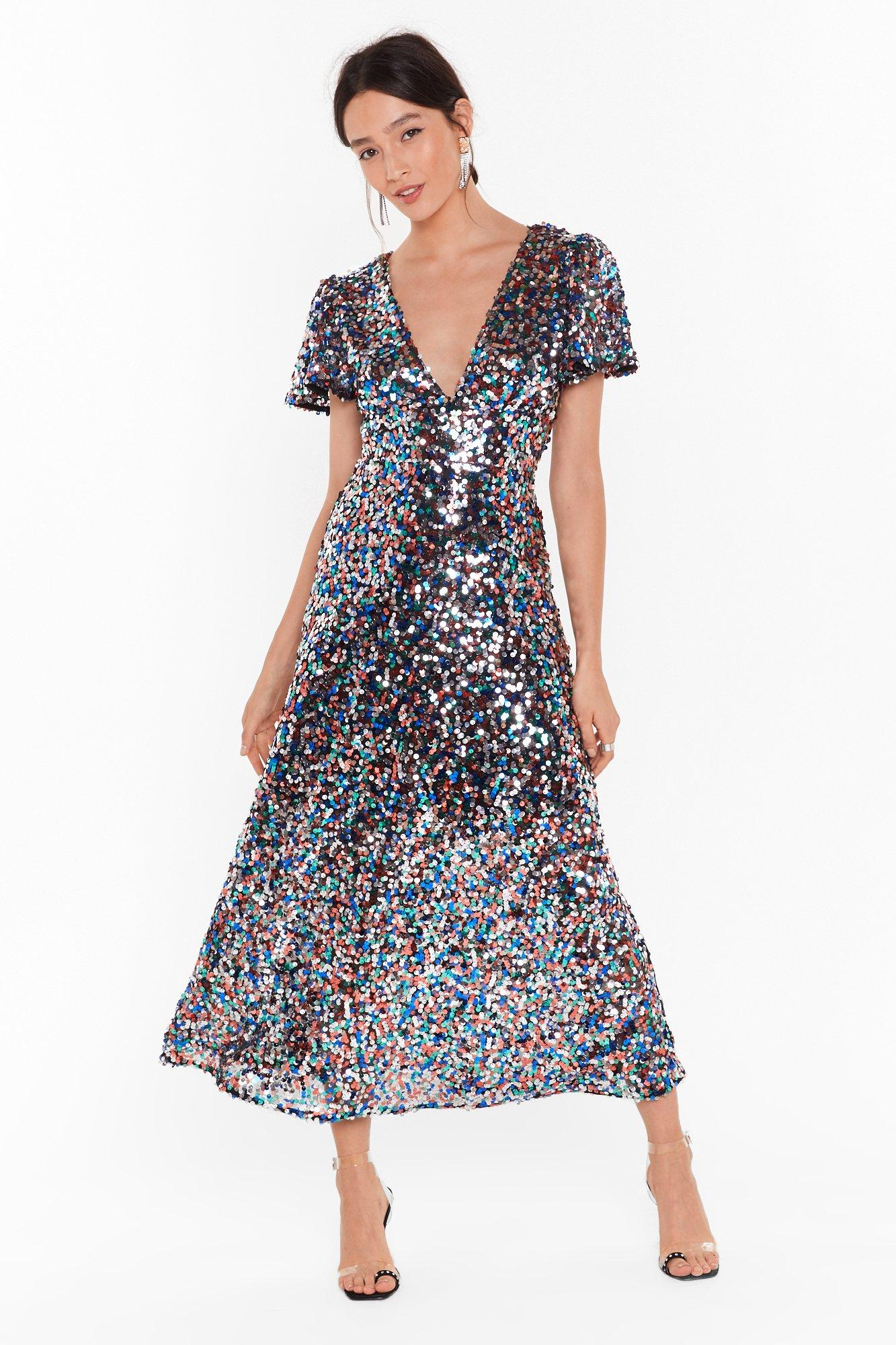 Image of Command Attention Sequin Midi Dress