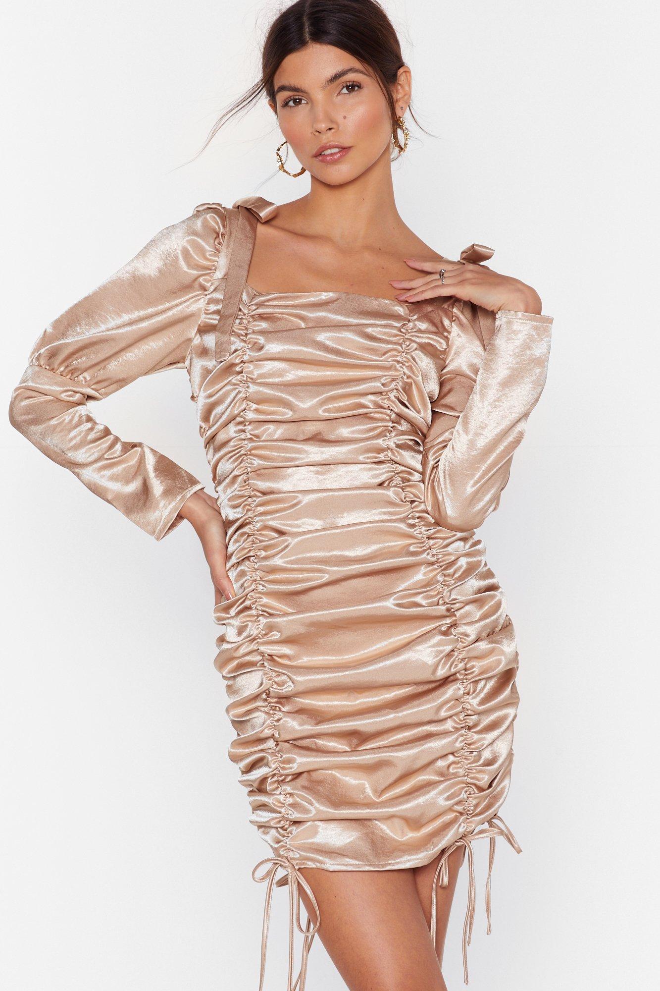Image of Blame It on the Ruche Satin Mini Dress
