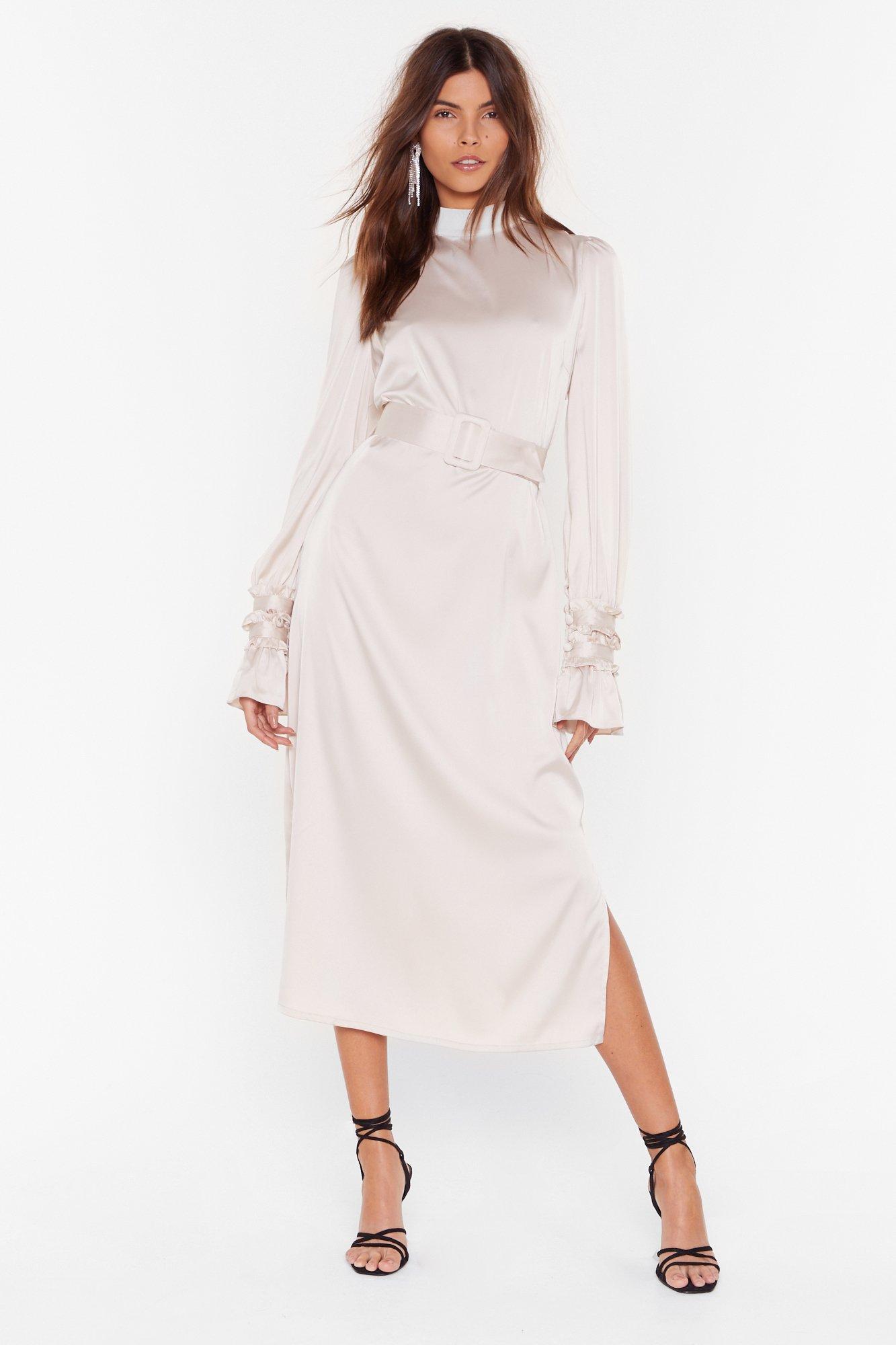 Image of Found Our Sleek Spot Satin Midi Dress