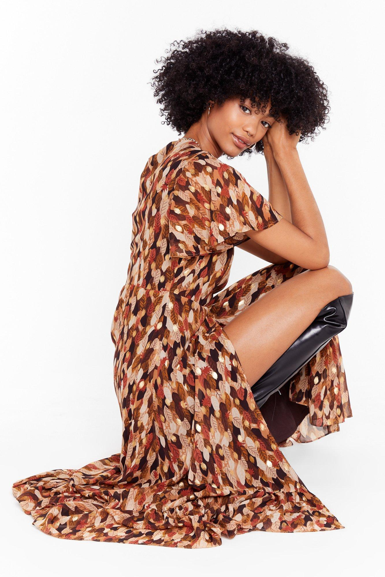Image of Turning Over a New Leaf Wrap Midi Dress